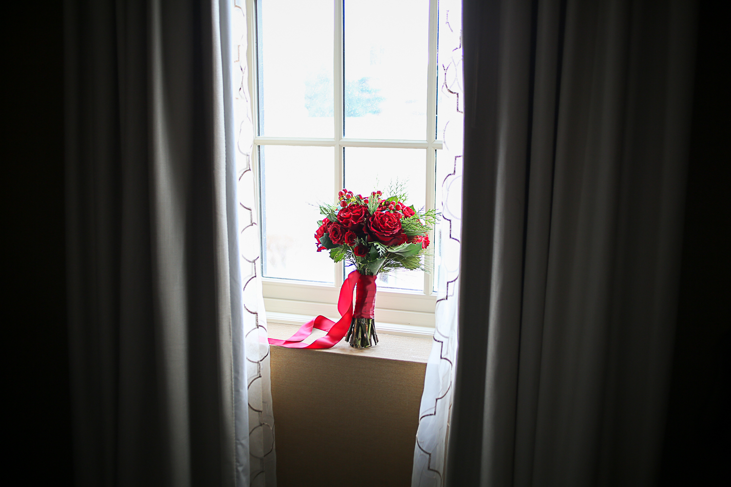 Red Bridal Bouquet - Christmas Themed Wedding at Hotel Roanoke | Roanoke, Virginia Wedding Photographer