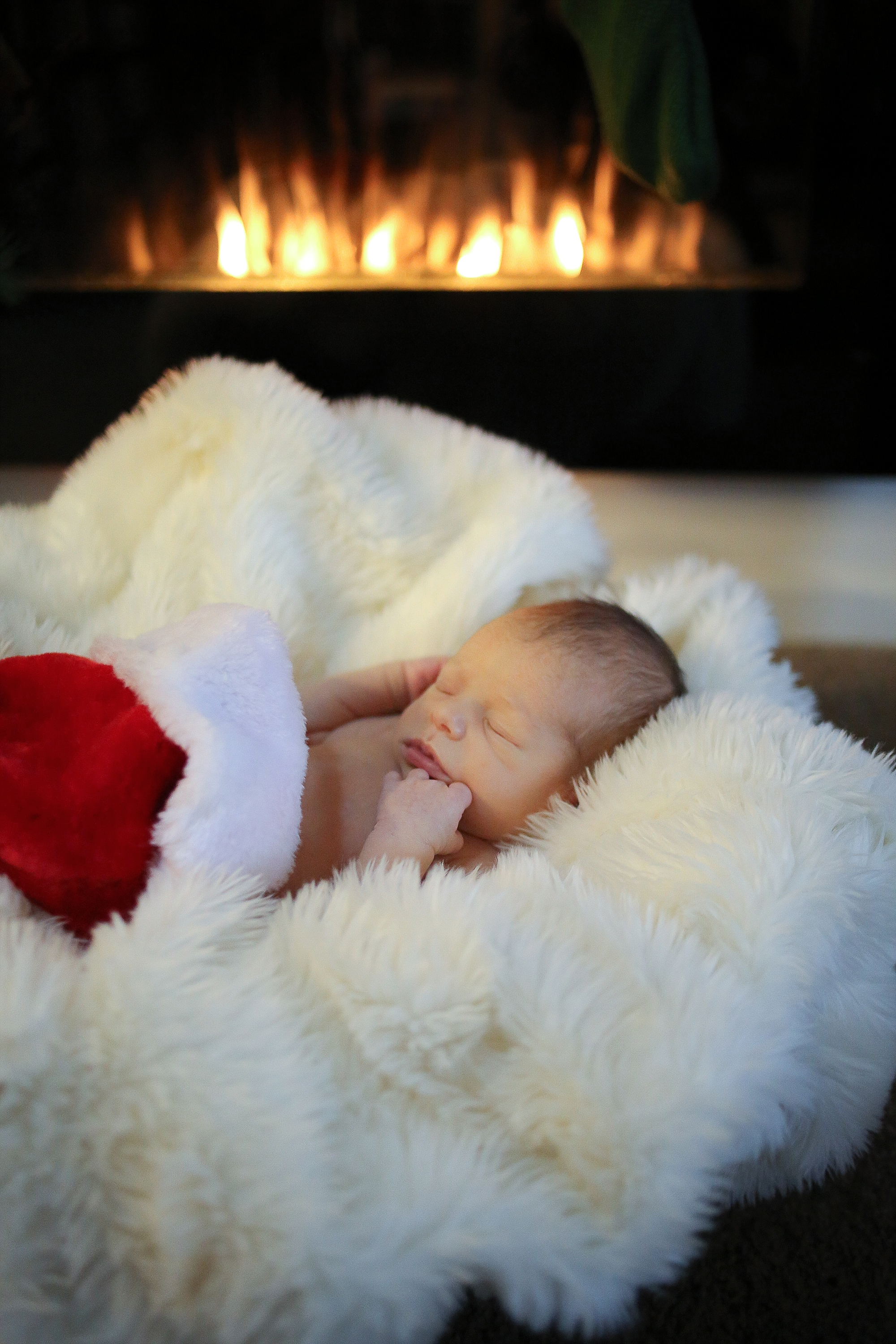 Newborn Christmas Baby Santa Photos | Blacksburg Newborn Baby Photographer, Holly Cromer