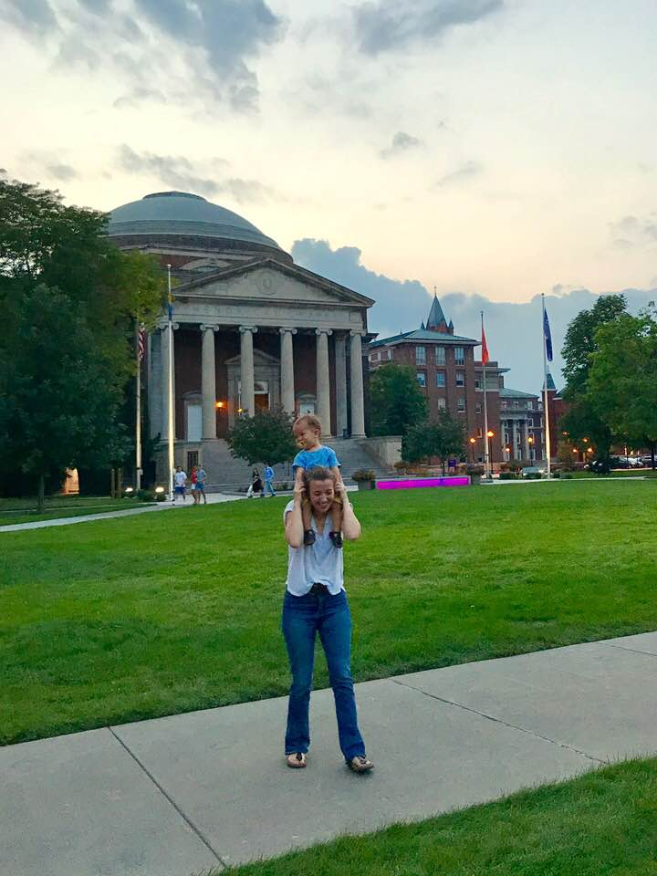 Heidi Hehnly (me) and Bart enjoying the quad at Syracuse University.