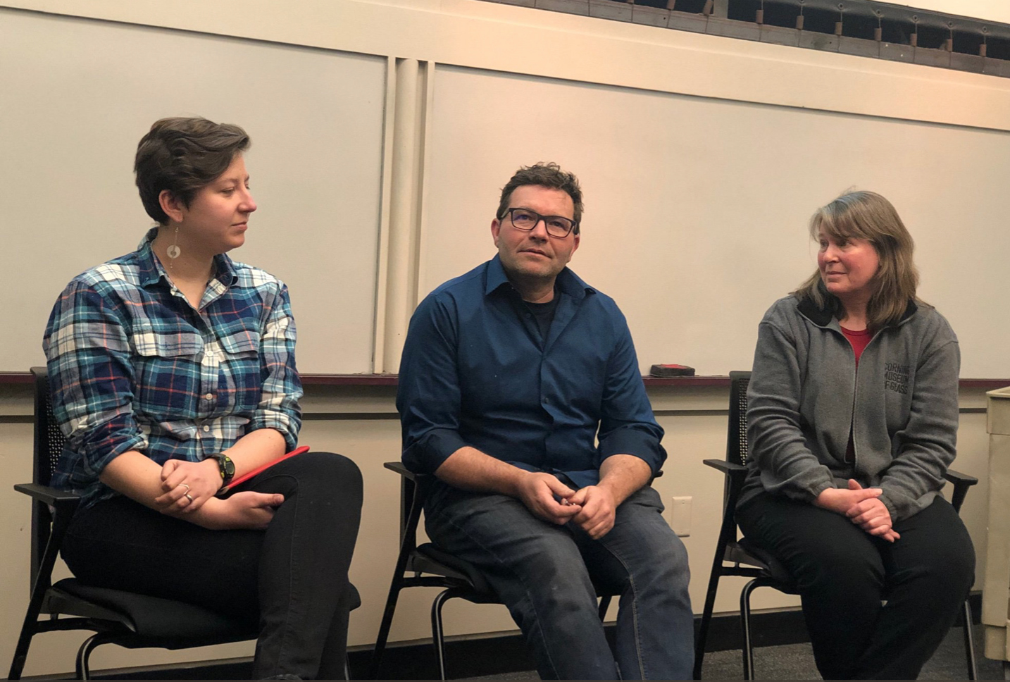 Caitlin McDonough (Biology), Sam Van Aken (Studio Arts), and Sally Ann Prasch (Chemistry) discussing how either art is incorporated into their Biology, or Biology is incorporated into their Art.