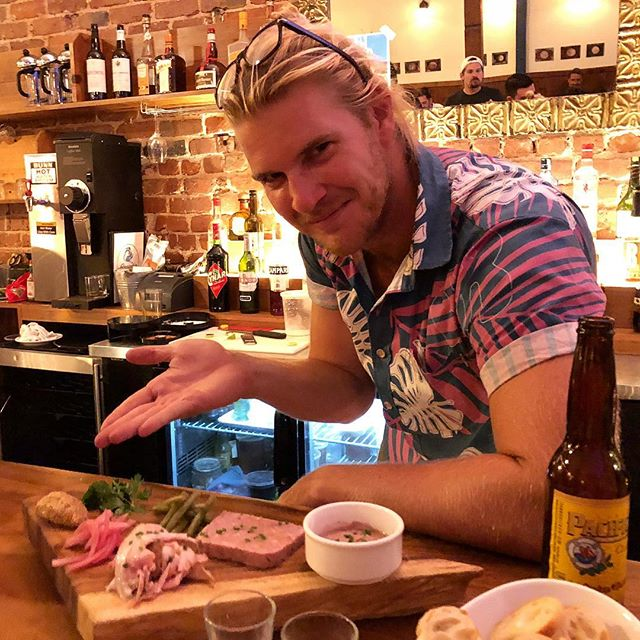 Charcuterie, anyone? @OutdoorJunkiez co-founder @DrewFarwell presents a selection of housemade pâté de campagne, house ham, mousse de foie, house grain mustard, pickles, and crostini at Grondin, Chinatown's French-Latin kitchen that Abstract had the opportunity to embark on a food adventure with, in #Abstract9.  Pop in for brunch today or tomorrow from 10 am to 2 pm (or tonight, from 5 to 9 pm) to greet owners Jenny Grondin and Dave Segarra before @GrondinHI closes its doors downtown tomorrow. We'll miss meals like the ratatouille, Kaua'i prawn #ceviche, adobo pork chop, and unreal #cubanos, but we're also excited to see what new projects Jenny and Dave are working on next.  Mahalo Grondin, for 4+ years of incredible dishes and drinks!