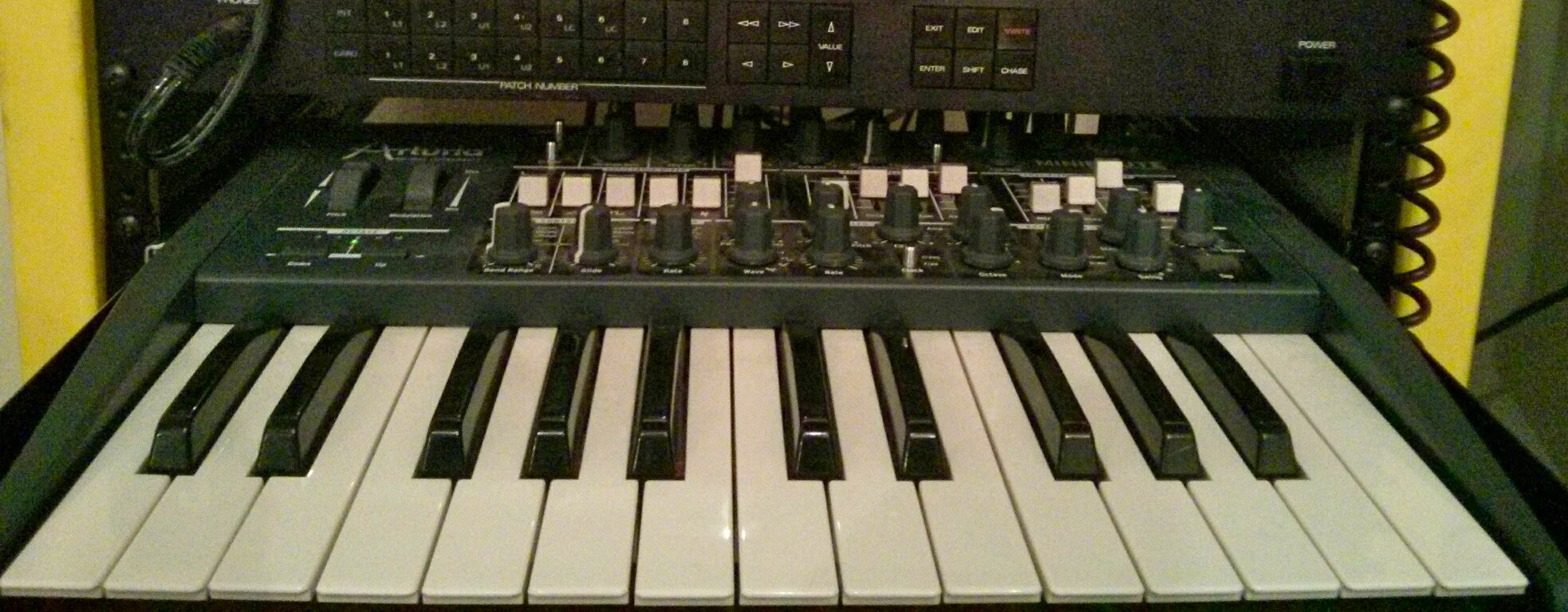 This synth lives on a rack shelf. The springy, superlight 2 octave keyboard was always more of a nuisance than an asset, so I got rid of it.