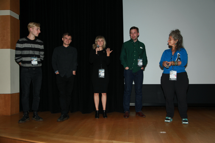 Q&A with director Aldona Watts, cinematographer/co-producer Julian Watts, and cinematographer James Kennard after the Land of Songs premiere. Also pictured is filmmaker Tyler Zoanni, whose short The Ladies played before Land of Songs, and festival curator Rachel Chanoff.