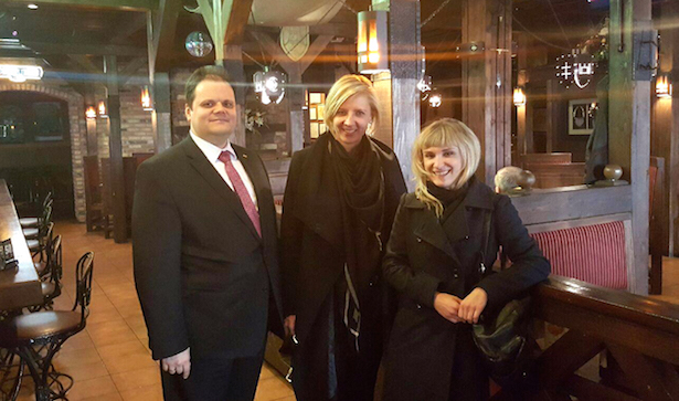 Aldona with Consul General Marijus Gudynas and Director of Cultural Affairs Agne Verteklaite at Grand Duke's Lithuanian Restaurant.