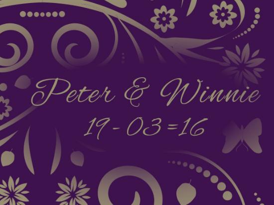 Peter & Winnie    19th March 2016