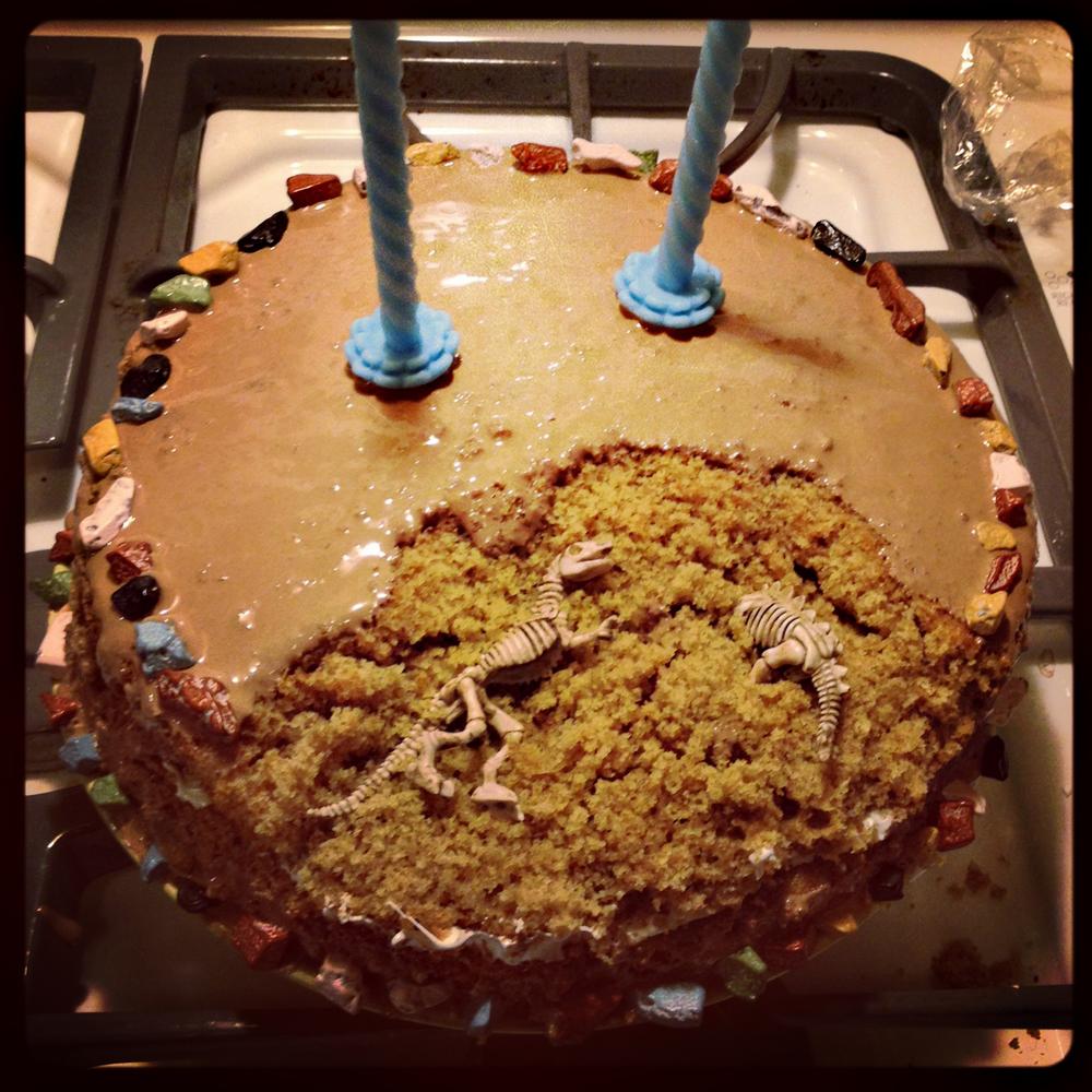 1. Dinosaur Bones S'mores Cake
