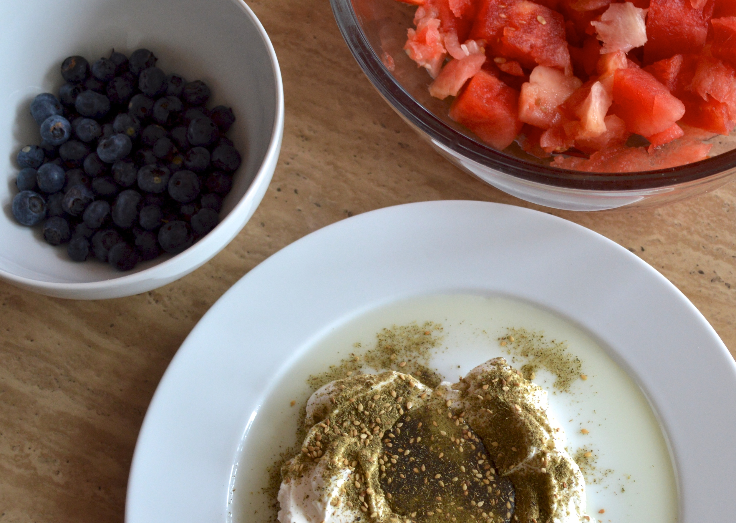 Blueberries, Watermelon, & Labneh with za'atar