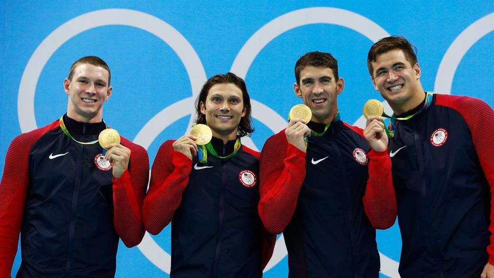 Nathan Adrian, Ryan Murphy, Michael Phelps and Cody Miller [Source: Adam Petty/Getty Images]