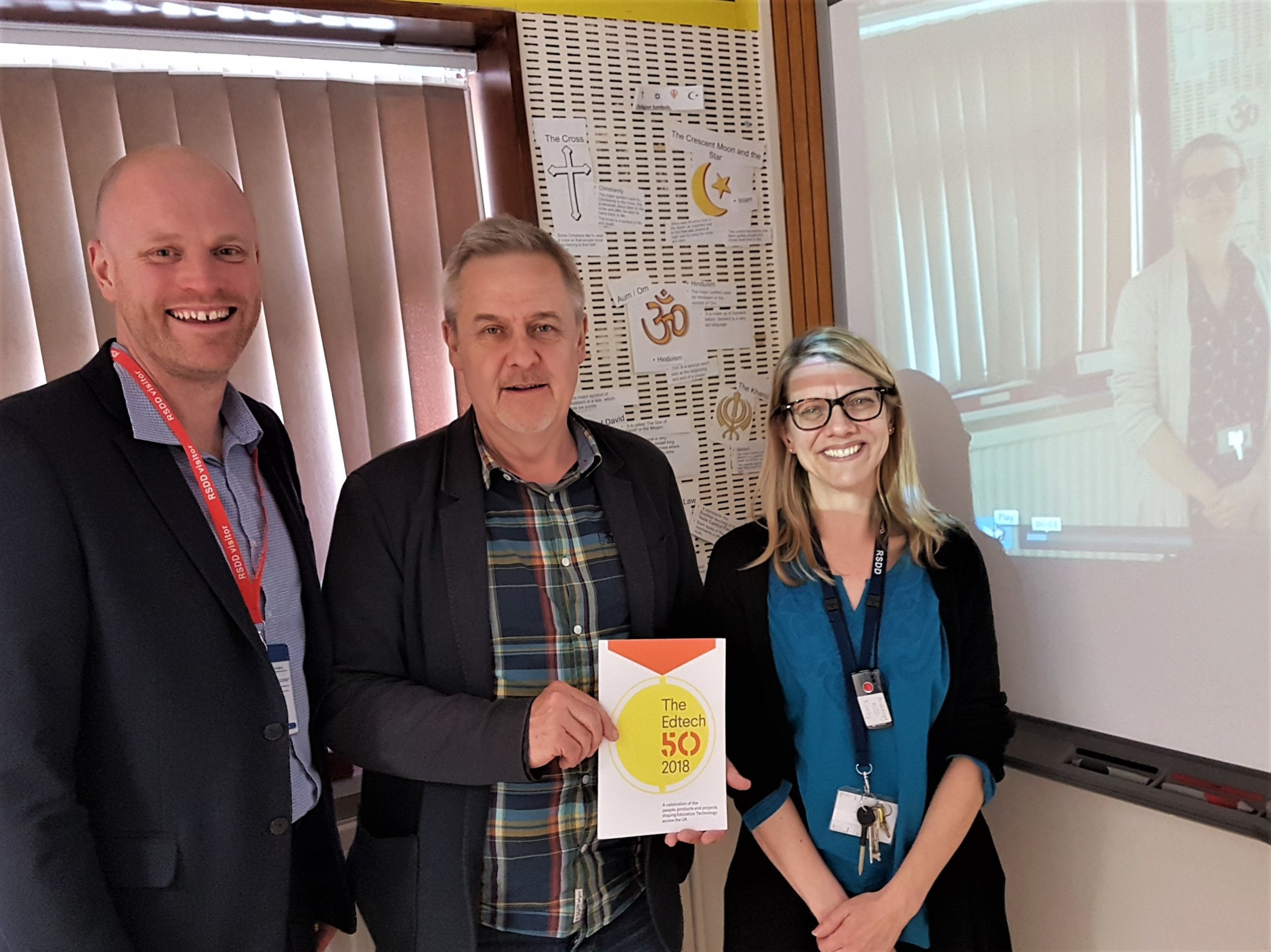 From left, Paul Rose, inventor of YouTeachMe, Ty Goddard, director of EdTechUK and Cathie Birch, a maths teacher at Royal School for the Deaf, who has been using the YouTeachMe system with its students. Penguin PR: public relations, media and communications