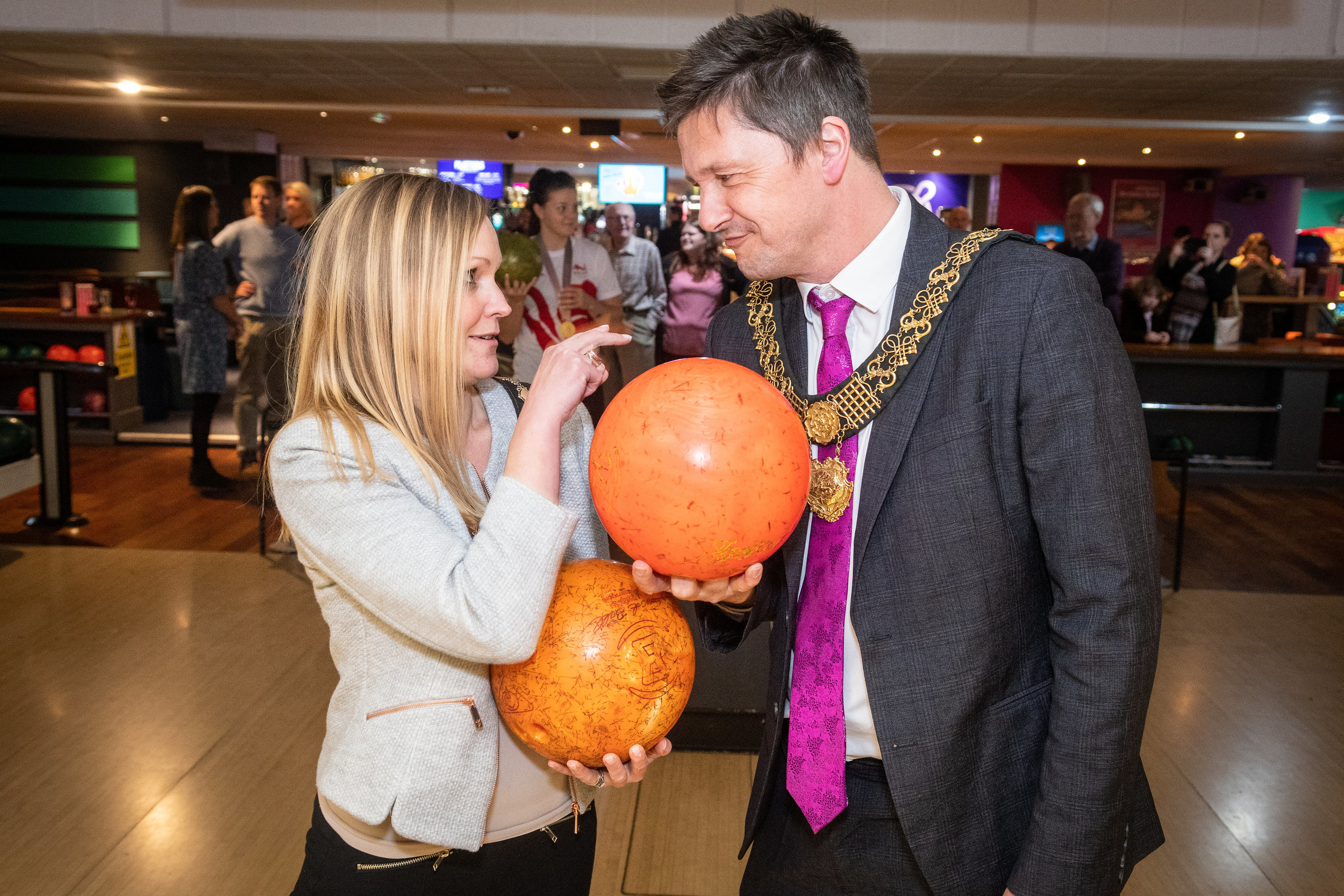Councillor John Whitby with his wife Juliette during the Mayor v Mayoress charity event at Tenpin Derby. Penguin PR: Public relations, media and communications