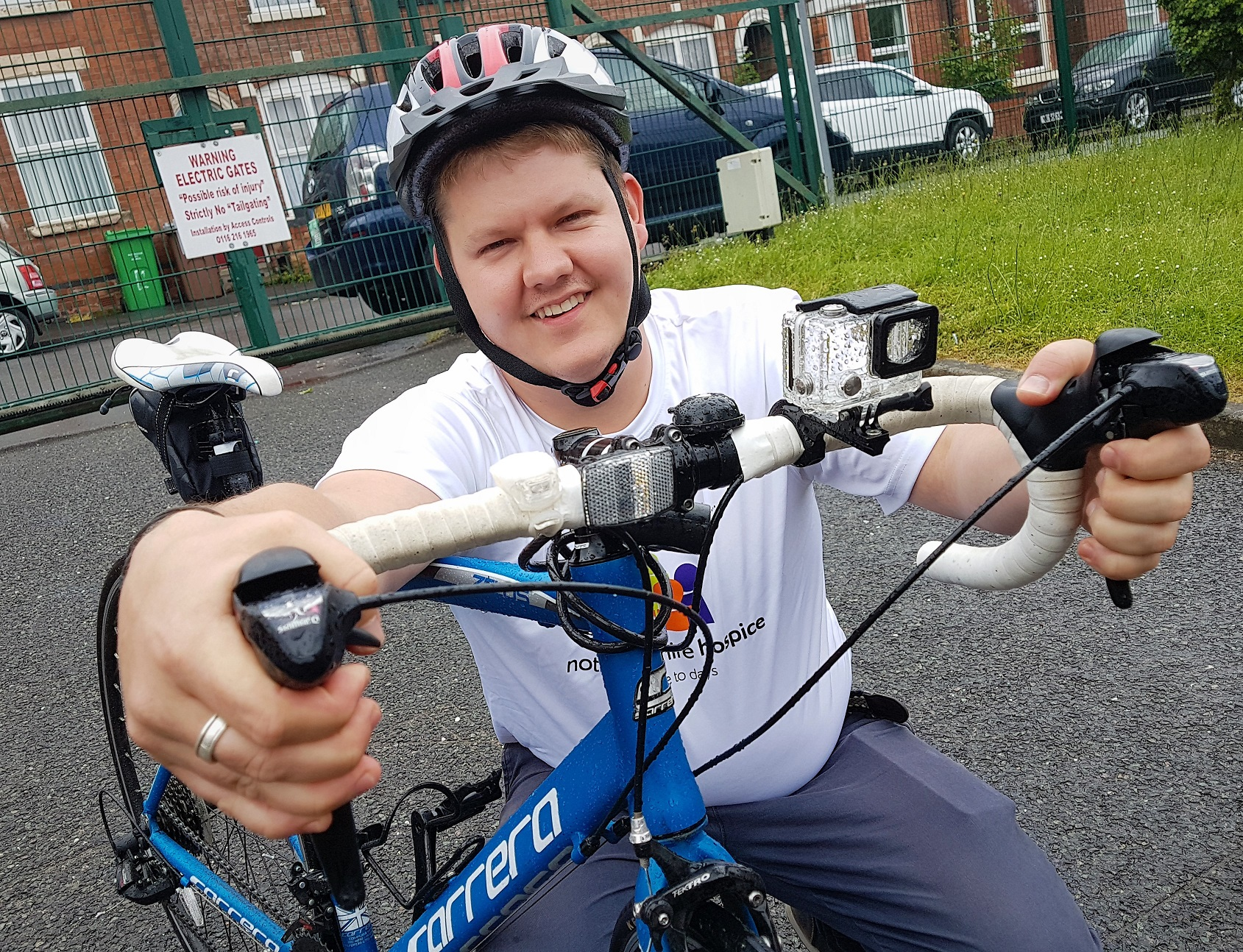 Dean Grimshaw, a school business manager from Woodthorpe, is in training to ride 50 miles in aid of Nottinghamshire Hospice. Penguin PR: public relations, communications and media.