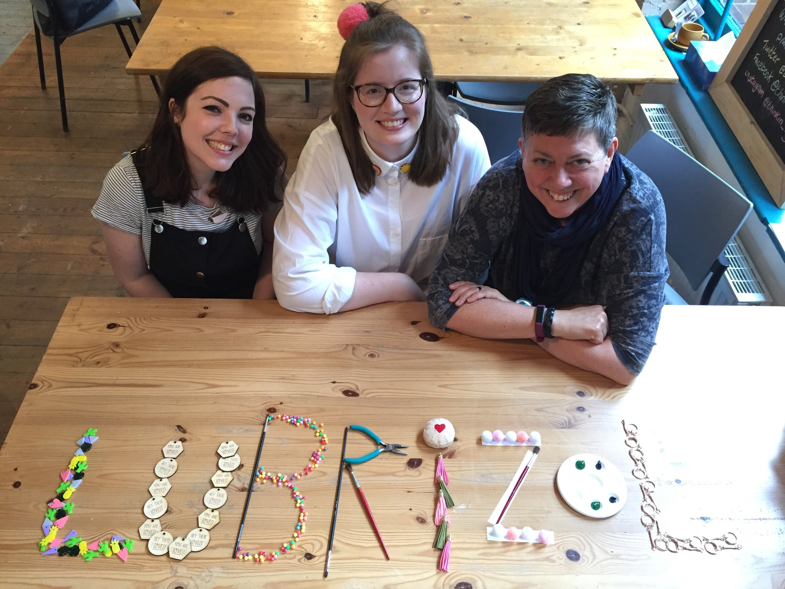 From left, Emma Rees and Menekse Stewart, who successfully pitched for funding for a new Saturday morning craft club, with Karen Clegg, charities and communities manager at chemical company Lubrizol. Penguin PR: public relations, media and communications