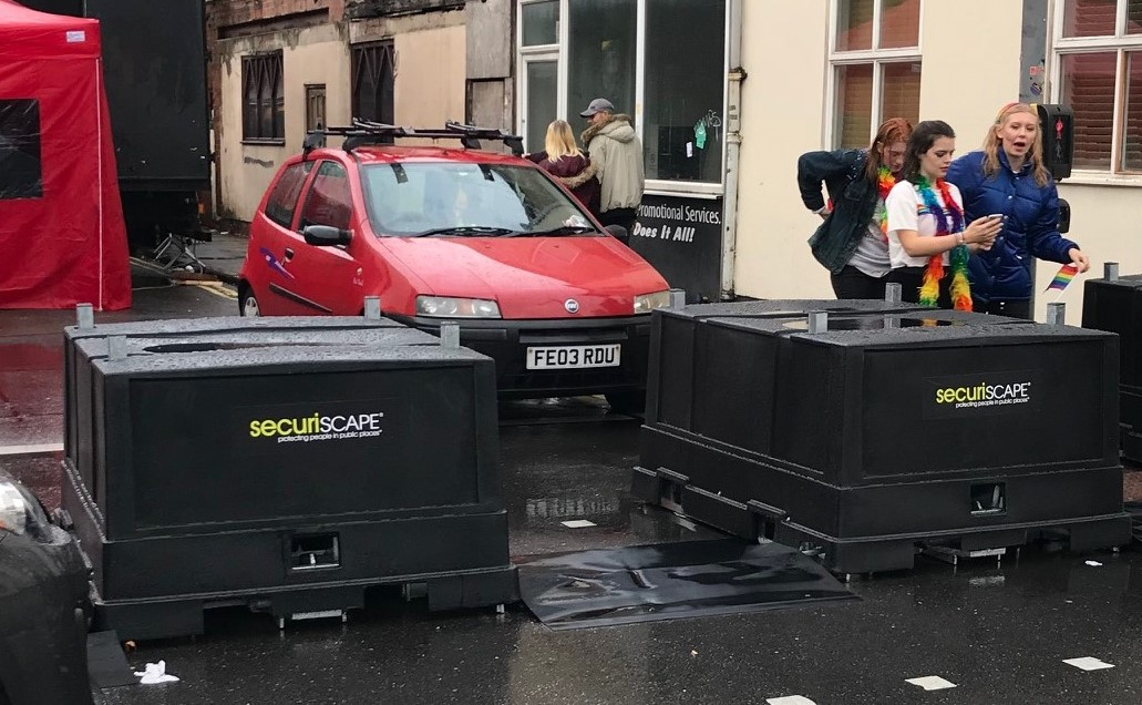 Derbyshire firm Securiscape kept the public safe with their SecuriPods at the Derby Pride 2018 event in the city centre. Penguin PR: public relations, media and communications