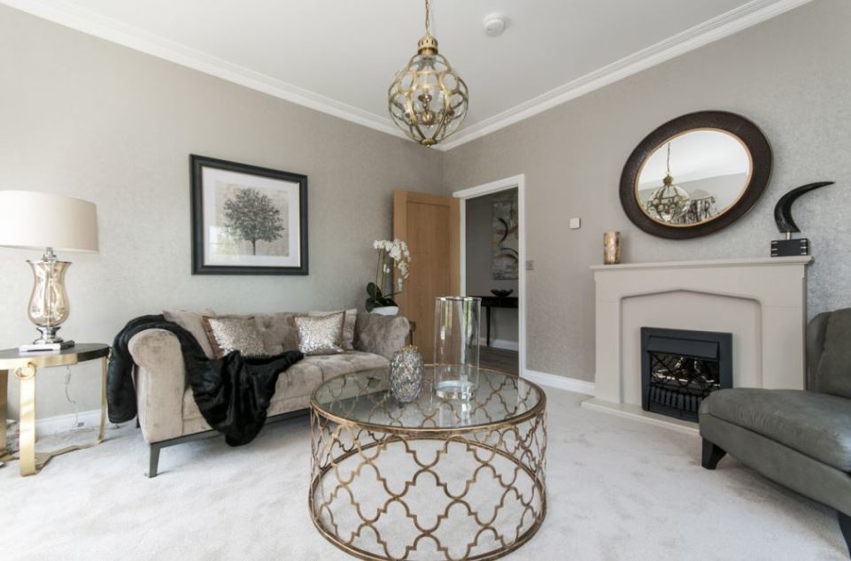 The beautiful living room in the Deer Park showhome. Penguin PR: public relations, media and communications