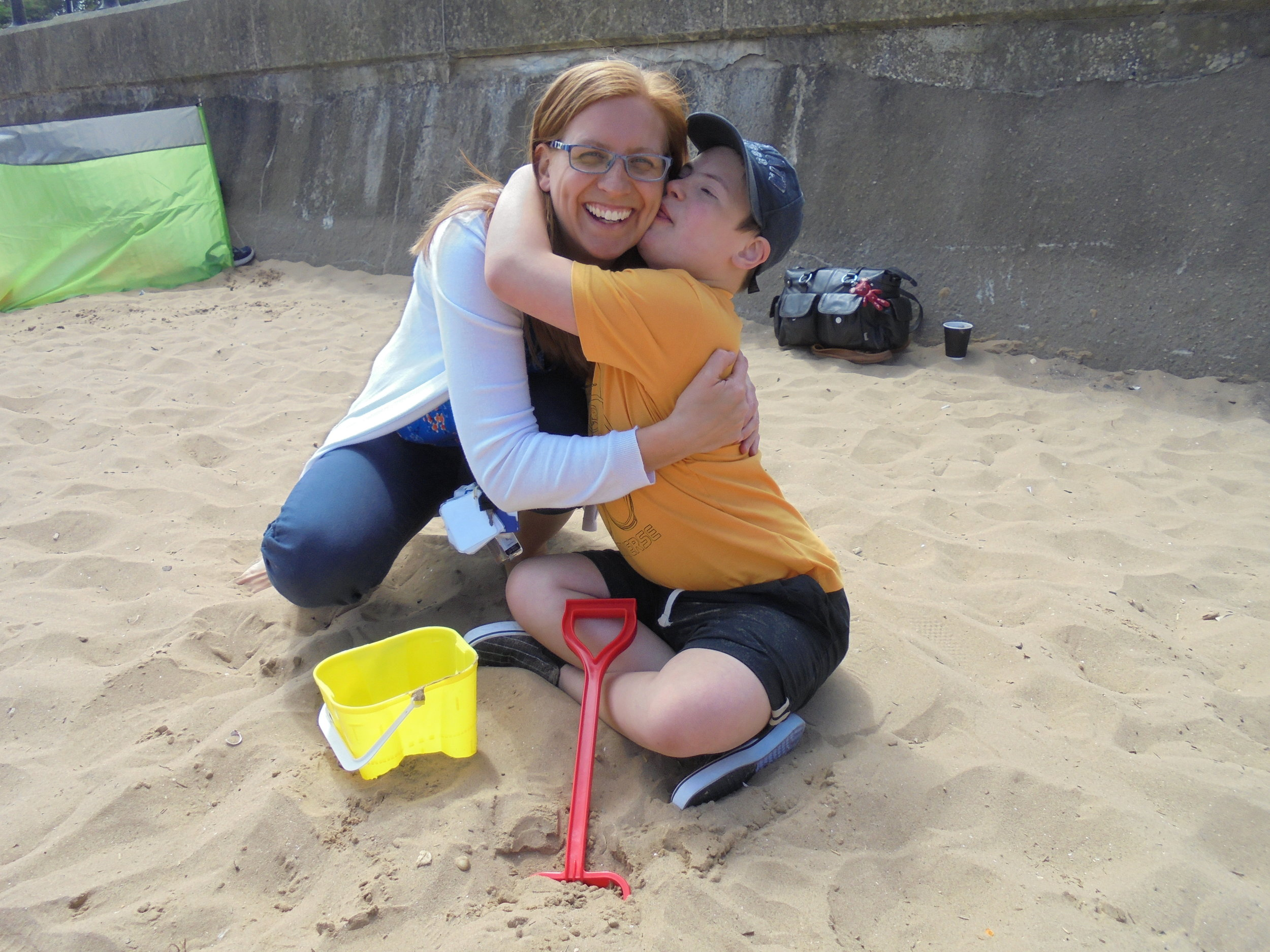 Zoe Everingham is pictured with Ryan Fulcher during a trip to the seaside with St Giles School in Derby. Penguin PR: public relations, media and communications