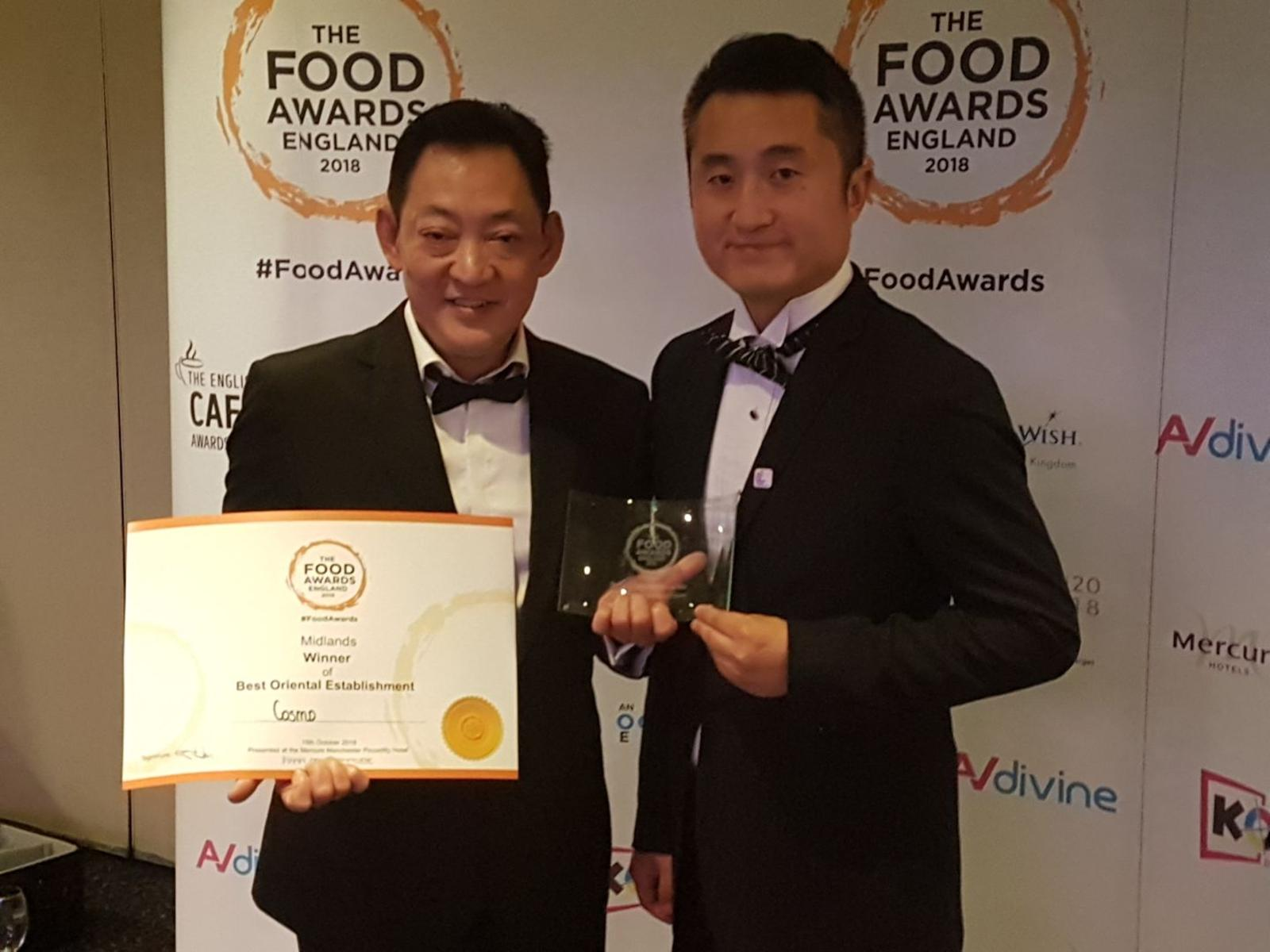 From left, COSMO Derby's chef Wee Kean Goh and general manager Wells Qi celebrate after the restaurant picked up a second award for Best Oriental Establishment in the Midlands at The Food Awards England at a ceremony in Manchester last night.