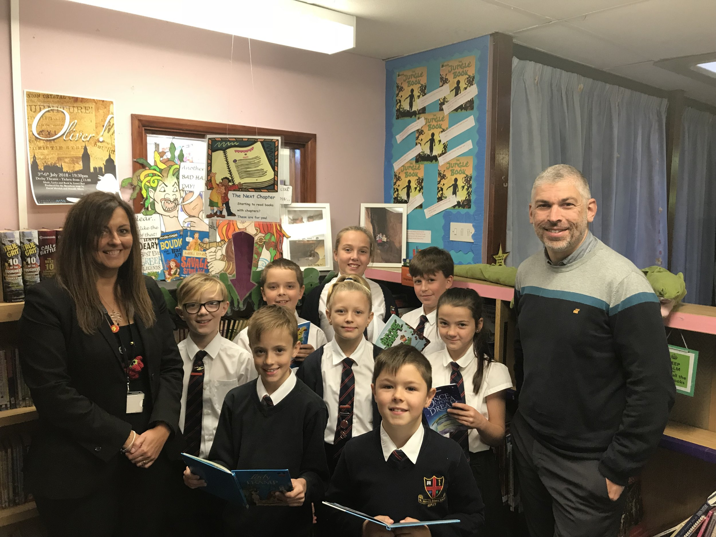 Year 6 youngsters from St Johns School, Ripley with head teacher Wendy Rose and deputy head Chris Howarth.