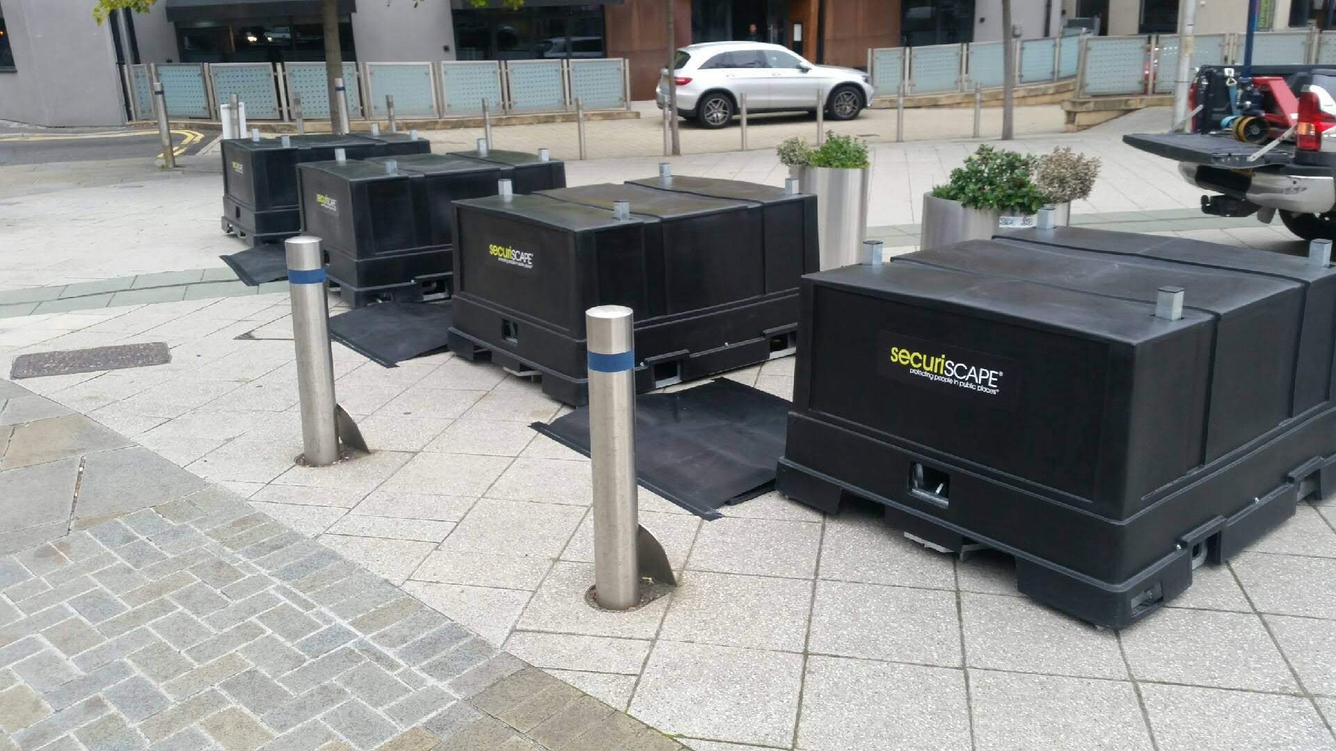 Securipods outside the Motorpoint Arena in Nottingham for the Robin Hood beer and cider festival. Penguin PR: public relations, media and communications