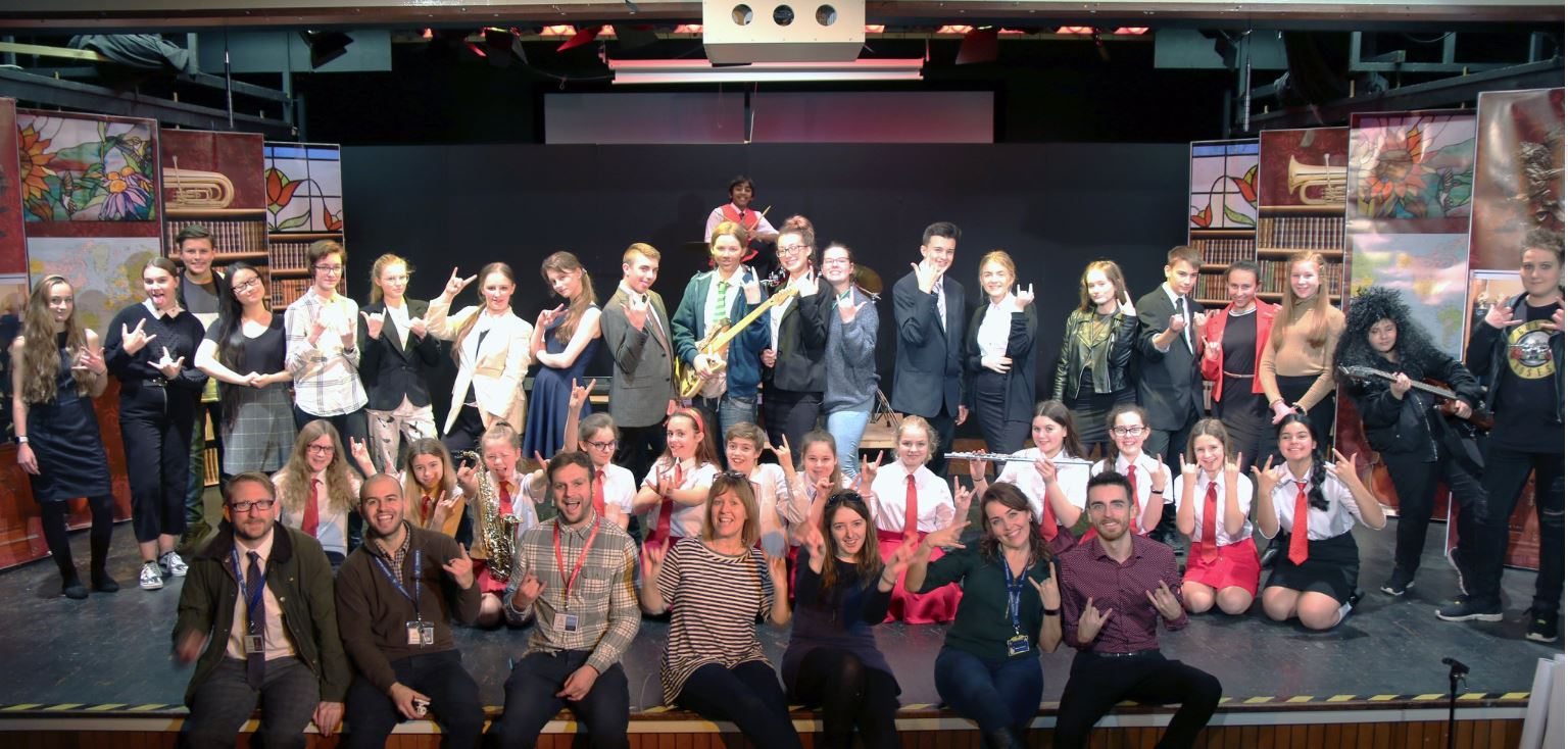 Pupils from Swinton Academy performed the hit West End musical School of Rock for primary school children and parents. Penguin PR: public relations, media and communications