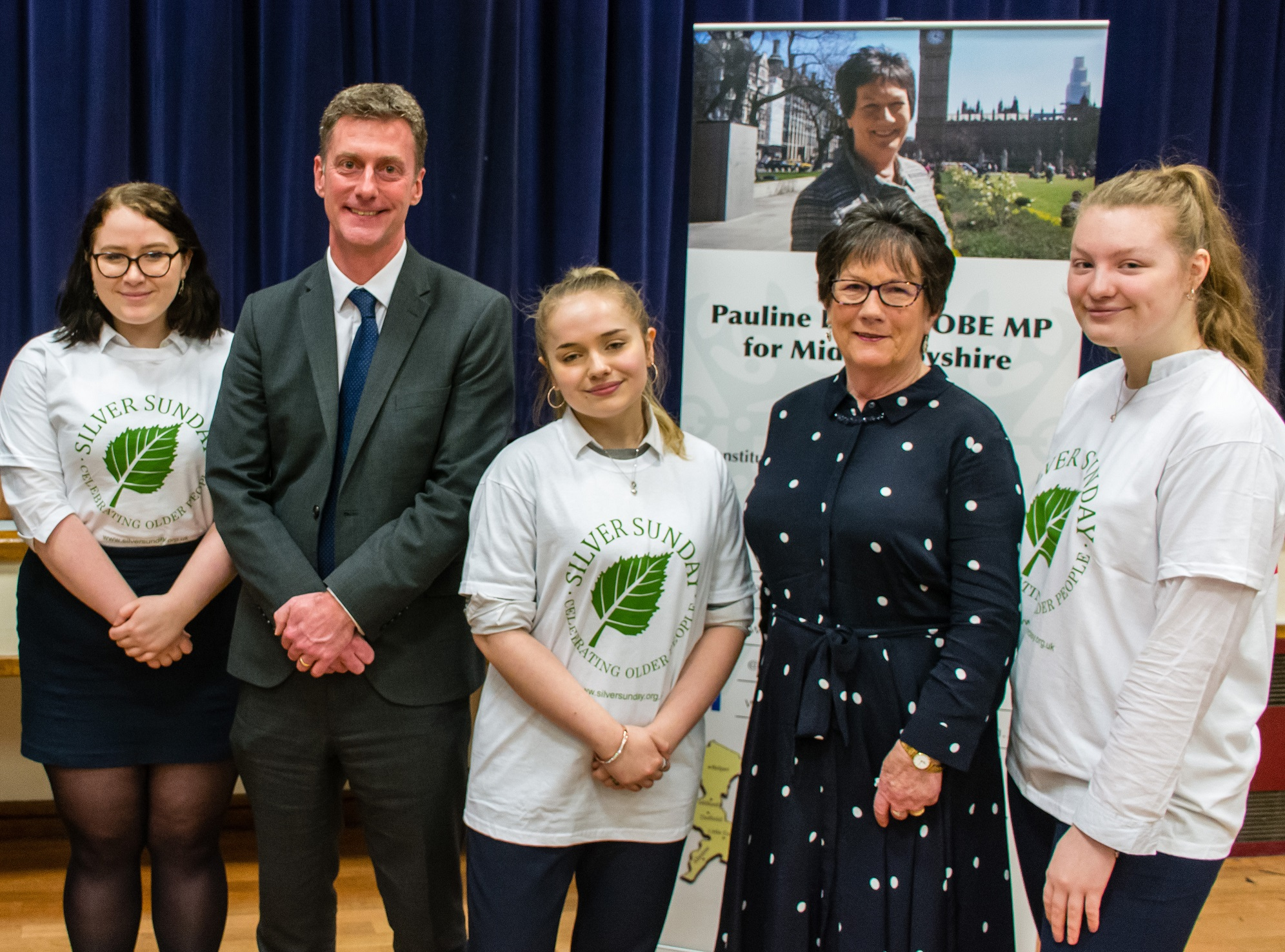 From left, Sixth Form student Lizzie Hart, 17, James McNamara, head teacher of The Ecclesbourne School, student Stella Nicholson, 17, Pauline Latham, MP for Mid Derbyshire, and Sixth Former Annabel Nicholls, 17. Penguin PR: public relations, communications and media.