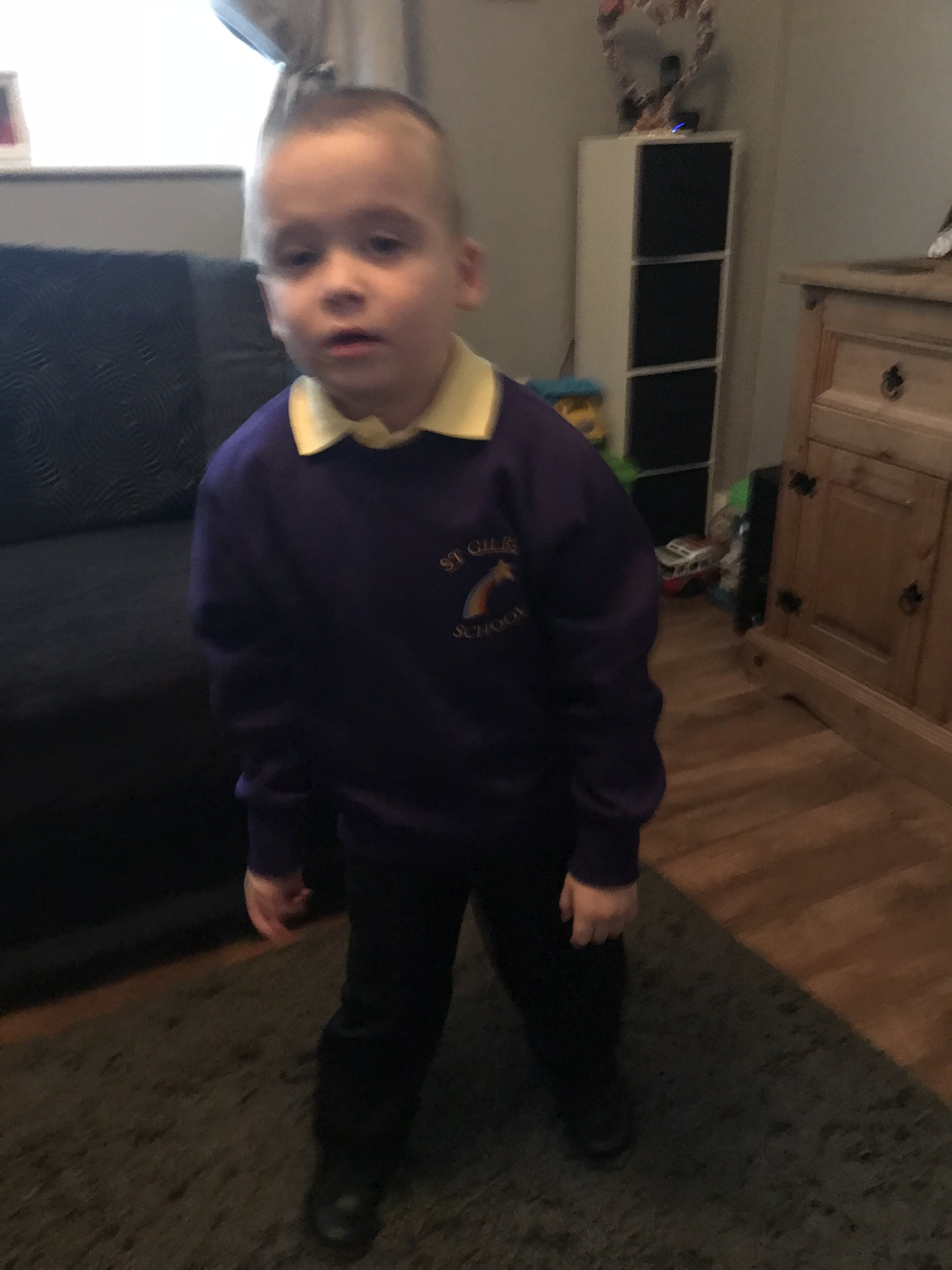 Little Theo before his first day at St Giles School in Derby. Penguin PR: public relations, media and communications