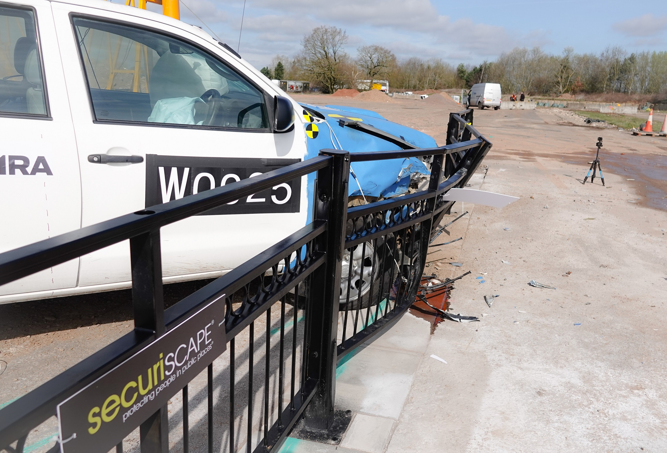 Securiscape's HVM Socketed Guardrail earned its IWA-14 rating after it stood firm when deliberately rammed by a 2.5 tonne 4WD pick-up travelling at 30mph during the test at MIRA. Penguin PR: public relations, media and communications