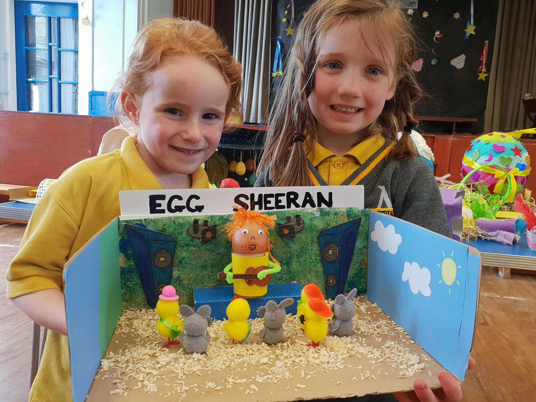 Lucia Bisby, four, left, shows off her Egg Sheeran concert creation with friend Lily Jenkinson, five. Penguin PR: public relations, media and communications