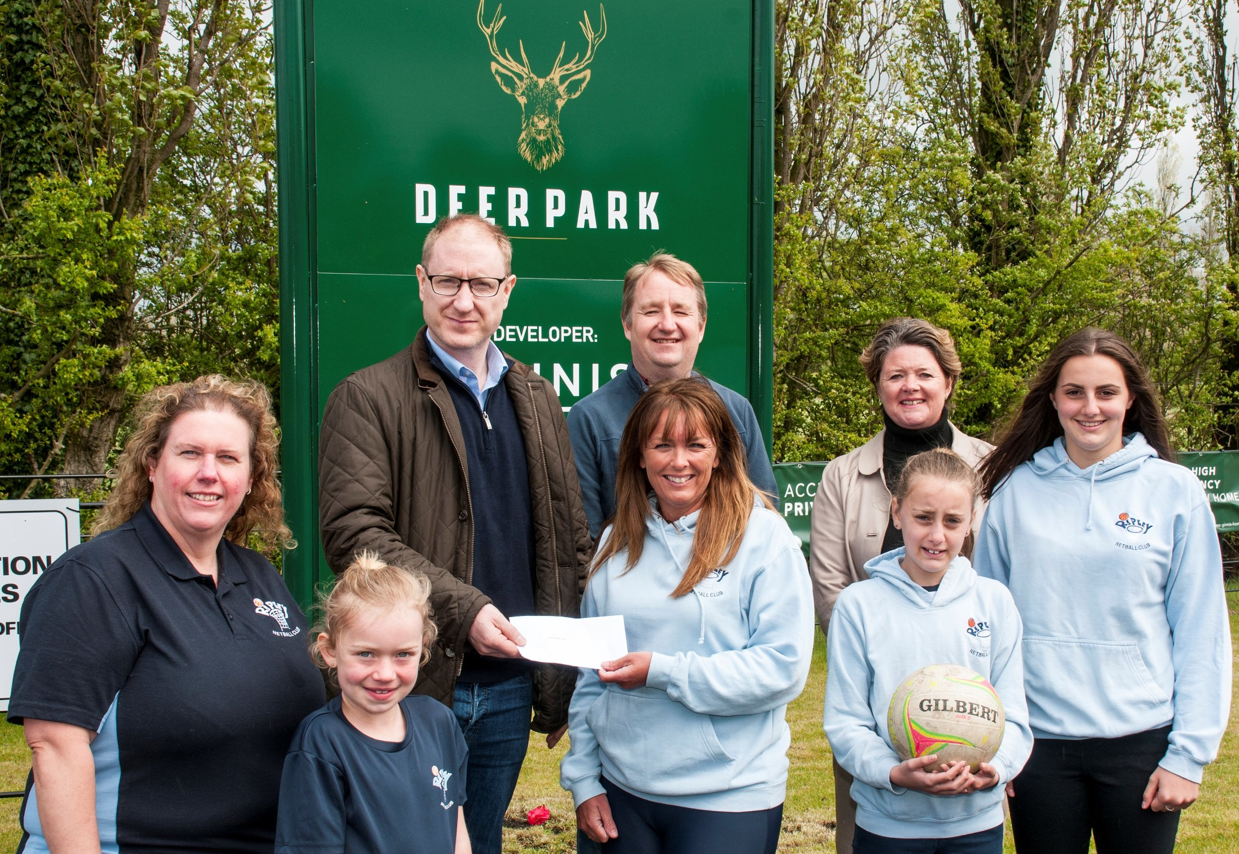 Pictured accepting the sponsorship from Deer Park developer Ginnis New Homes are: (front row L-r): Janie Wheatley, Grace Ganly, Cheryl Naylor, Charley Delrosso and Libby Delrosso from Ripley Netball Club. Back row, pictured (L-r) Pat McGinnis, Ginnis New Homes, Nigel Mills, MP and Jo Hutchinson, former Ripley Netball Club member and representing estate agent Boxall, Brown & Jones. Penguin PR: public relations, media and communications