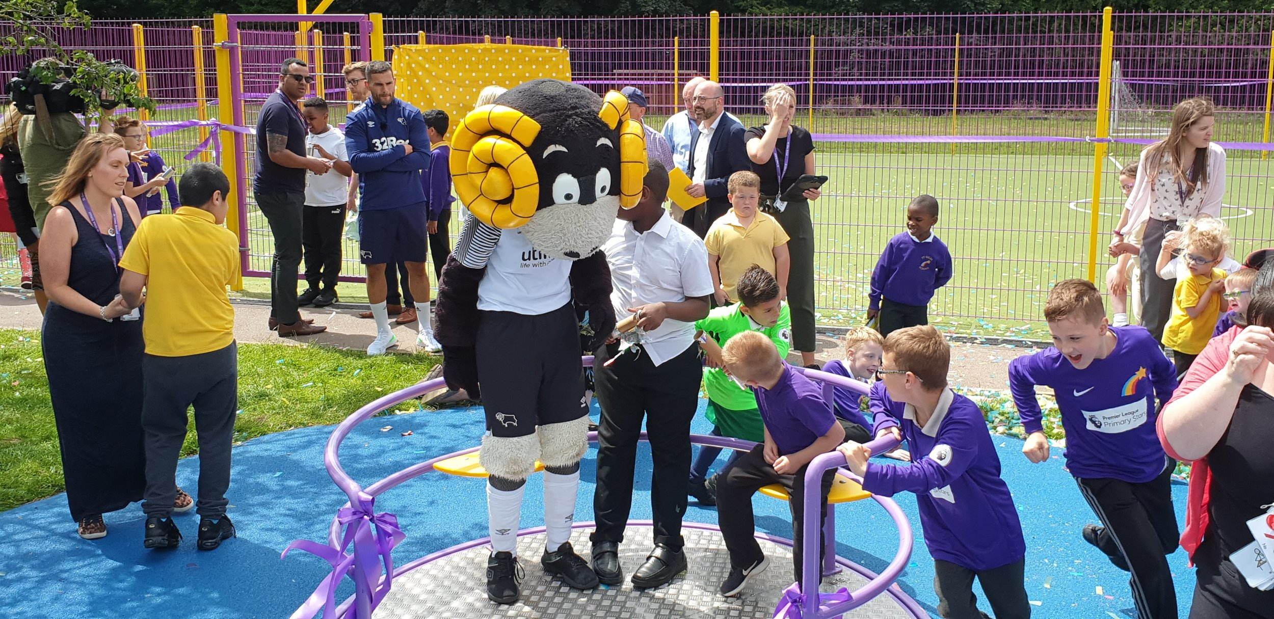 Derby County midfielder Bradley Johnson has opened the new MUGA at St Giles School in Derby. Penguin PR: public relations, media and communications