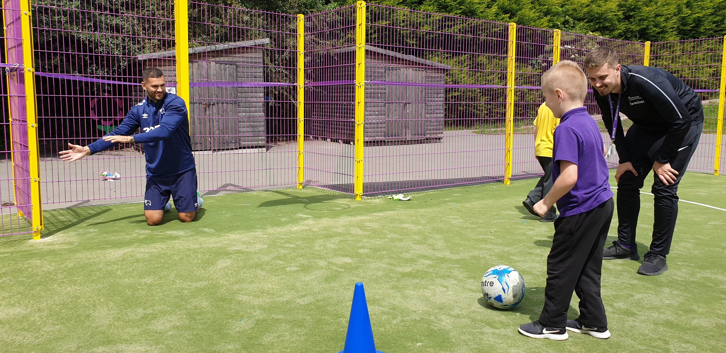 Derby County man Bradley Johnson at the official opening of the brand-new MUGA at St Giles School. The Derby County man raised £30,000 for the project.