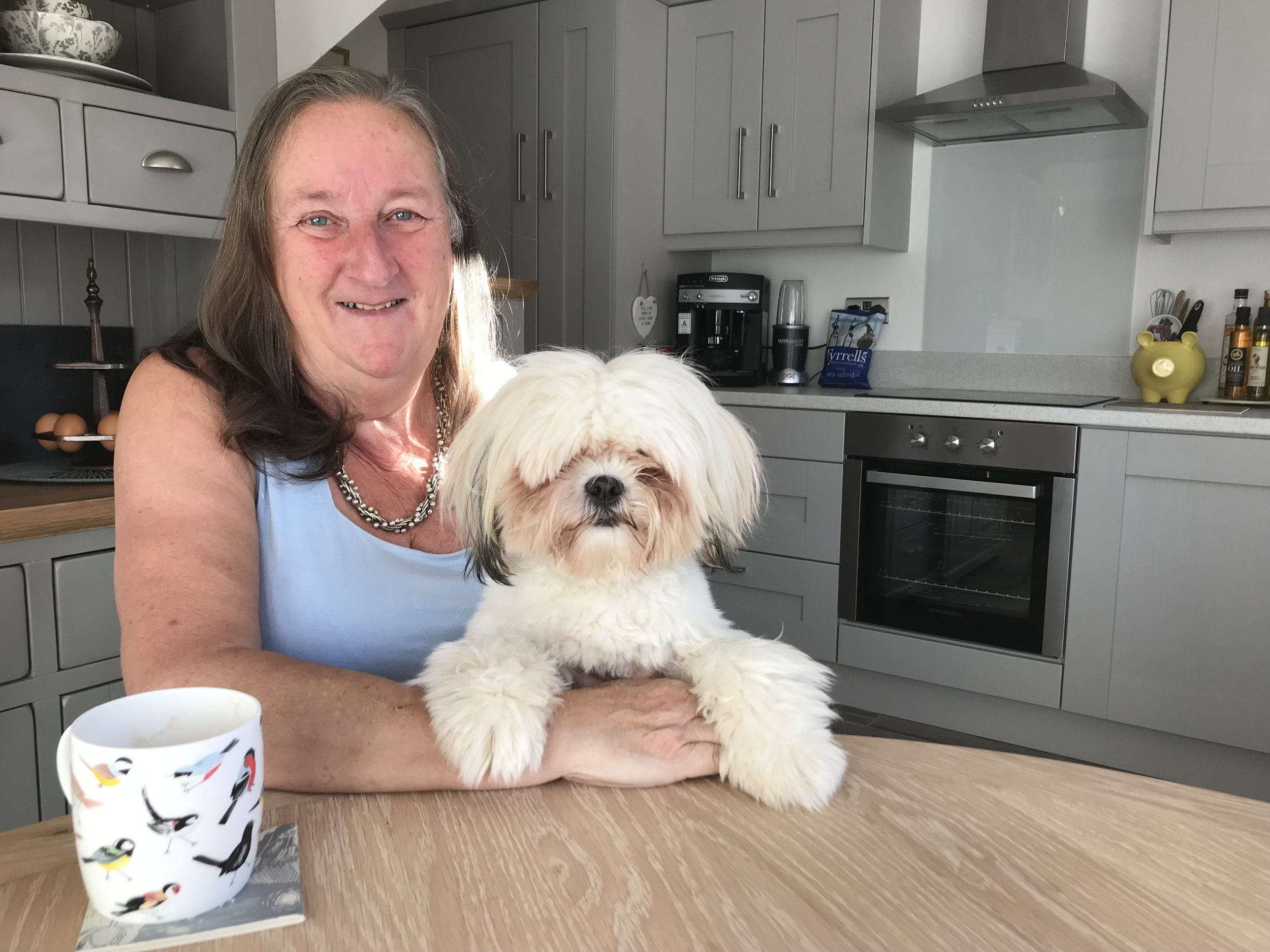 Susan King is pictured with her dog, Moppett. Penguin PR: public relations, media and communications