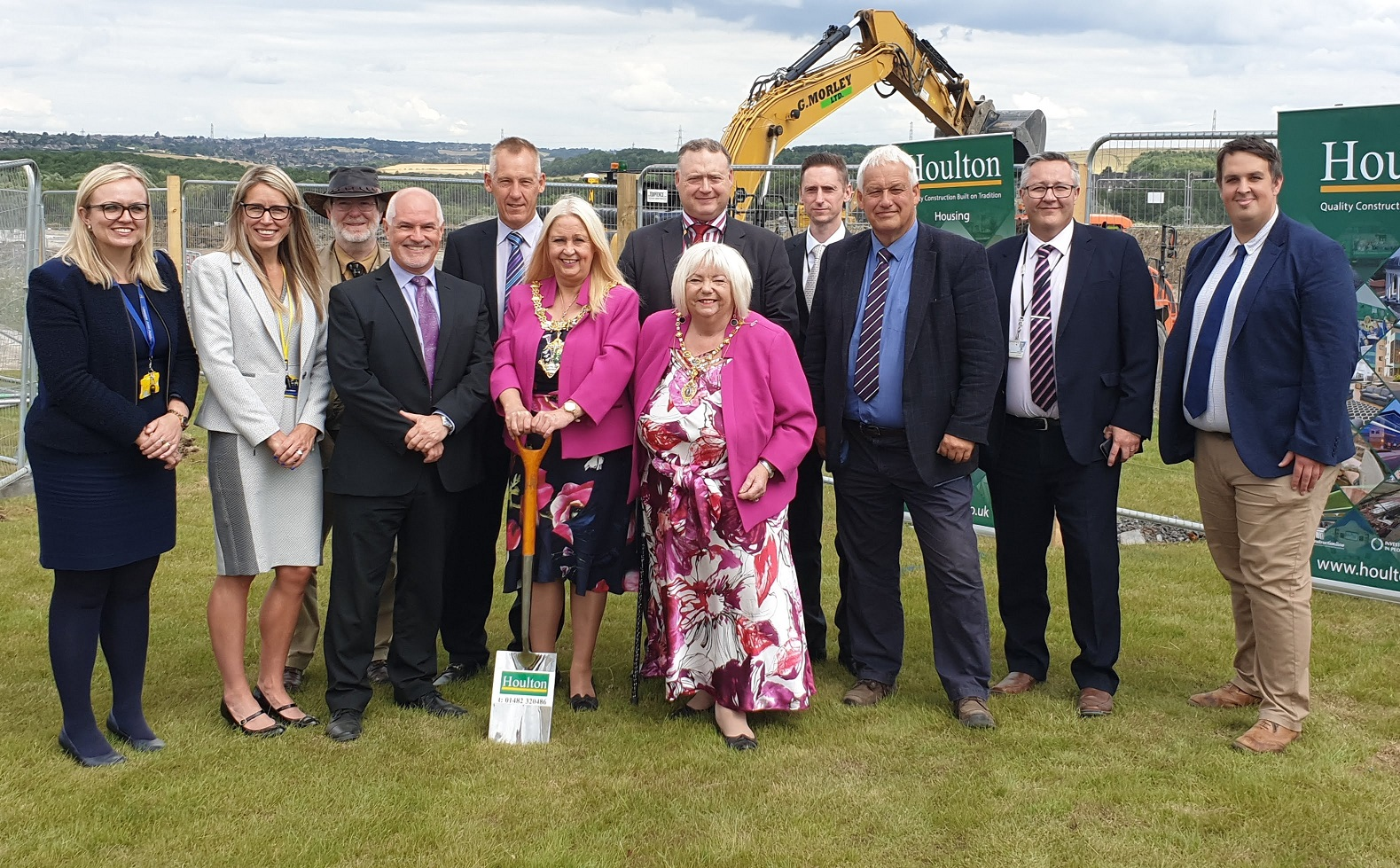 From left: Rebecca Scutt, assistant CEO of the Aston Community Education Trust; Cathryn Keeton, principal designate of Waverley Junior Academy; Councillor Bob Watson, council member for Rother Vale; Andrew Kingston, managing director of Houlton; John Barton, chair of ACET; the Mayor of Rotherham, Councillor Jenny Andrews; Paul Smith, head of asset management at Rotherham Council; the Mayoress of Rotherham, Councillor Jeanette Mallinder; Andrew Parry, capital projects co-ordinator at Rotherham council; Andy Watson, estates manager for ACET; Dean Fenton, Head of Service – School Planning, Admissions and Appeals at Rotherham Council and Mark Arthur, ACET asset premises manager. Penguin PR: public relations, media and communications