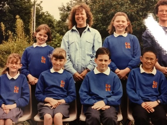 Linda at Royal School for Deaf Derby pictured with students in 1994. Penguin PR: public relations, media and communications