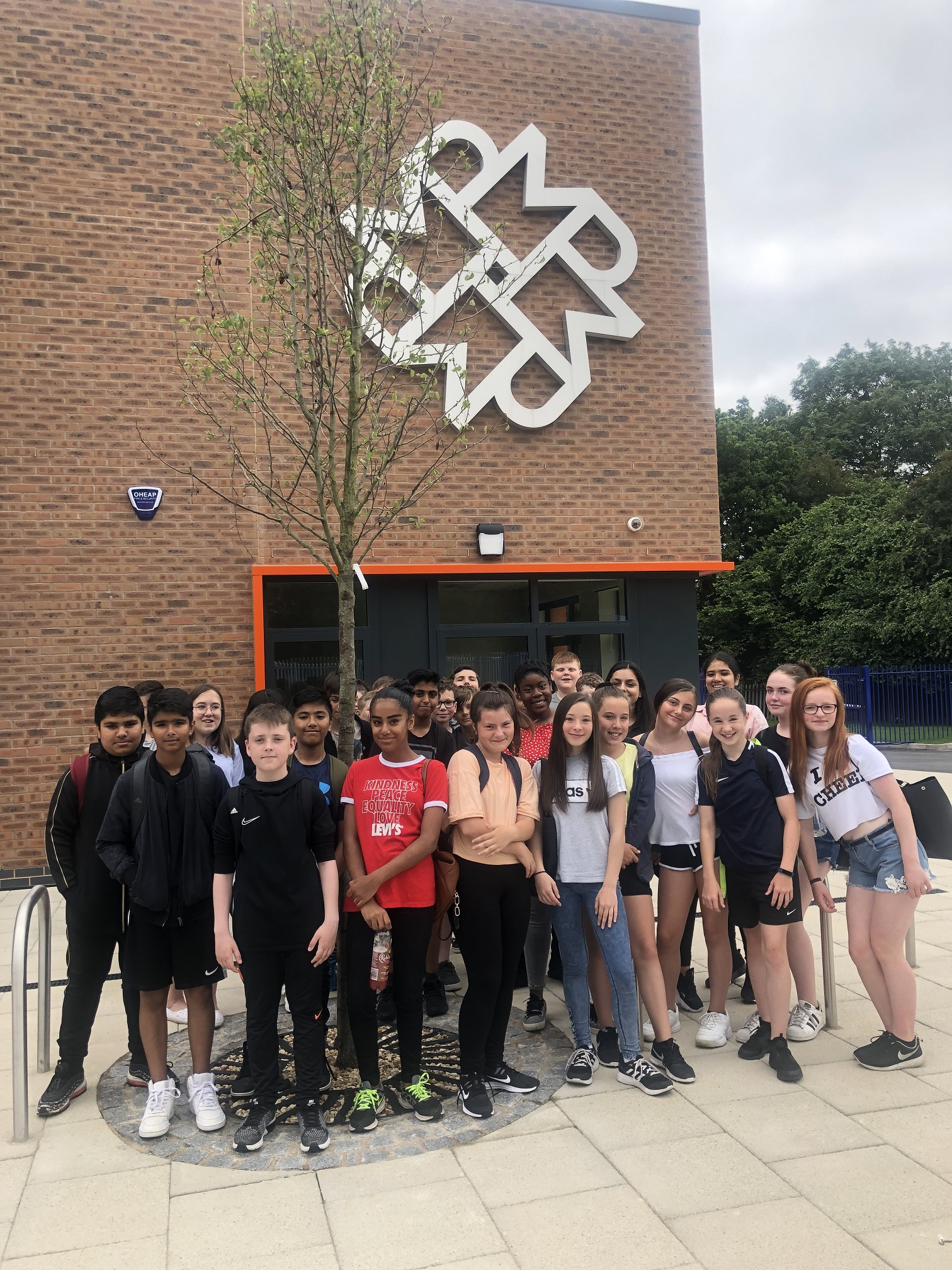 Year 7 pupils outside the new £9m Maple Park at Murray Park School in Derby. Penguin PR: public relations, media and communications