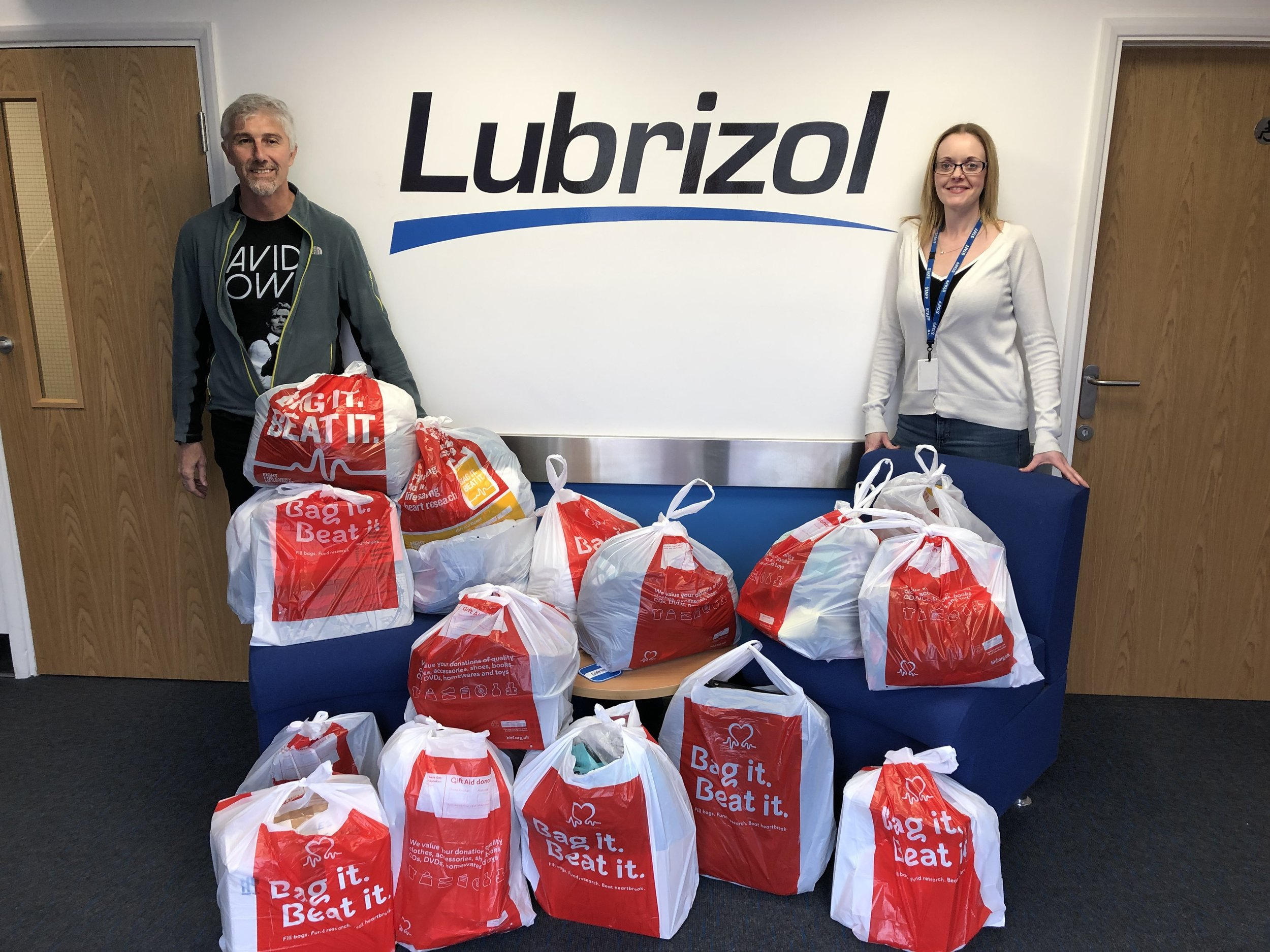 Staff at Lubrizol in Barnsley with their goodies for the British Heart Foundation. Penguin PR: public relations, media and communications