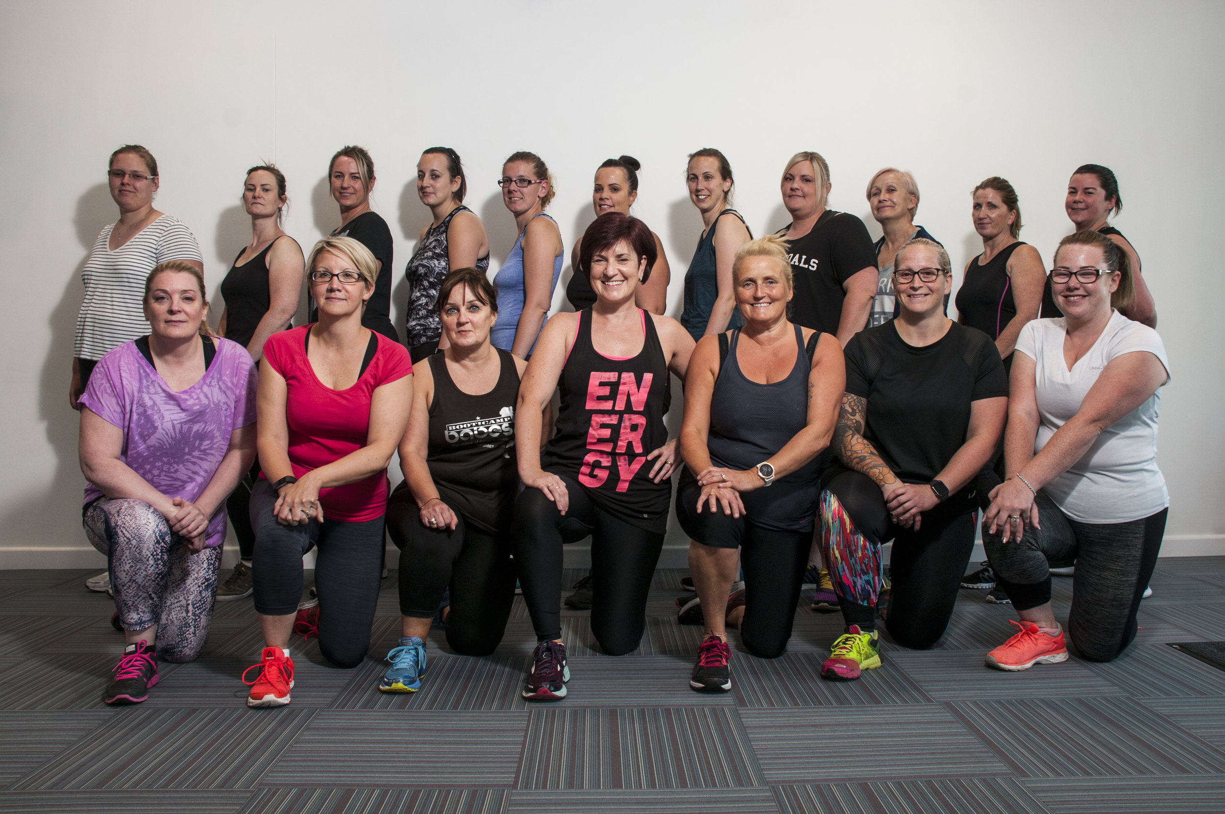 Member of hte Body Blast class, which is hosted by fitness instructor Julie Bamford (front row, centre). The class is held every Tuesday at Greenwich Community Centre, close to Deer Park.