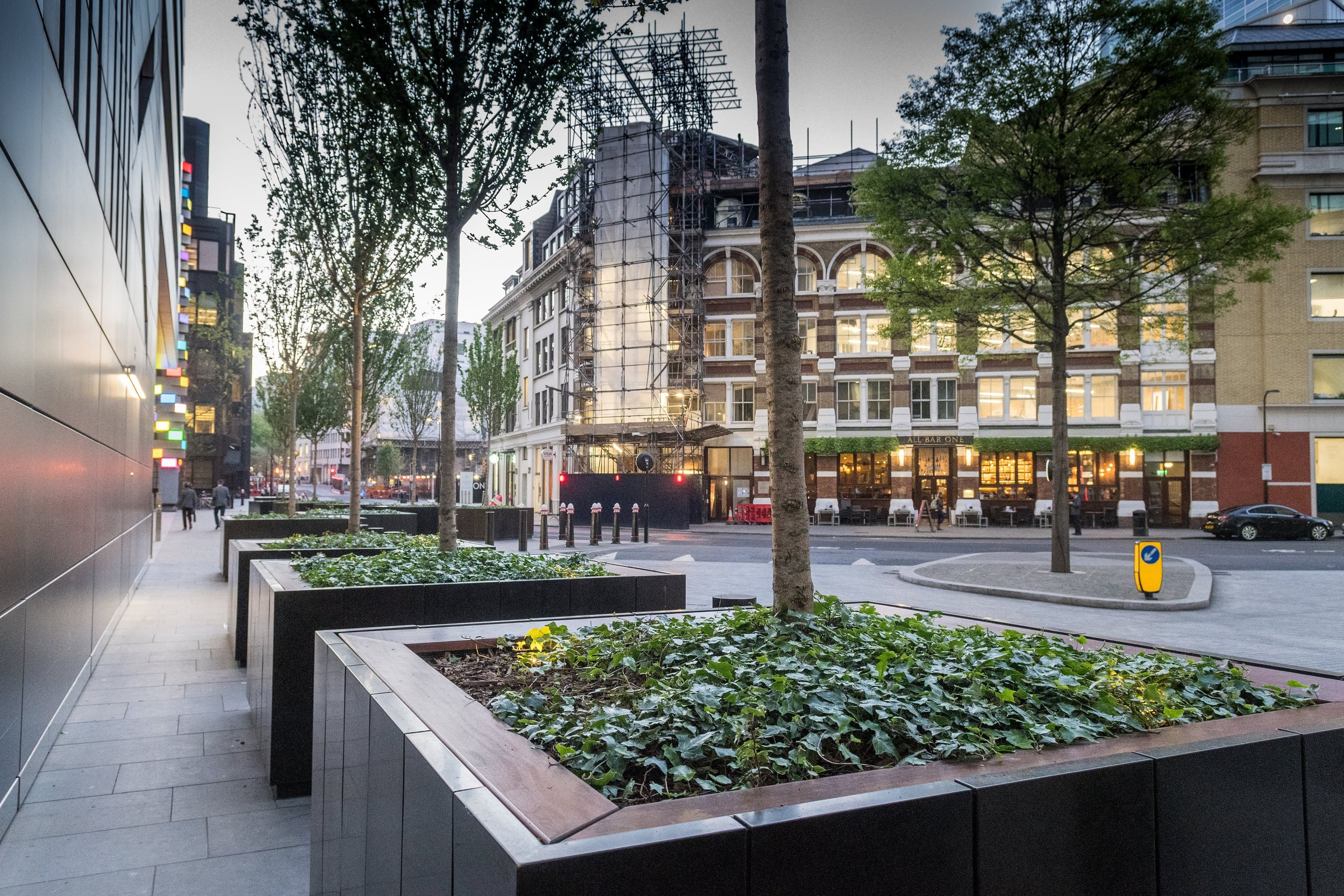 Securiscape's planters in Broadgate. Penguin PR: public relations, media and communications