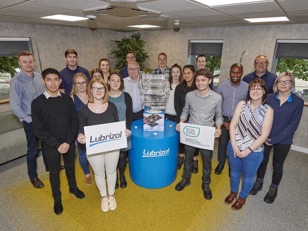Staff at Lubrizol with a 3D model of an engine, which will form part of its display when the company appears at the British Science Festival next week. Penguin PR: public relations, media and communications