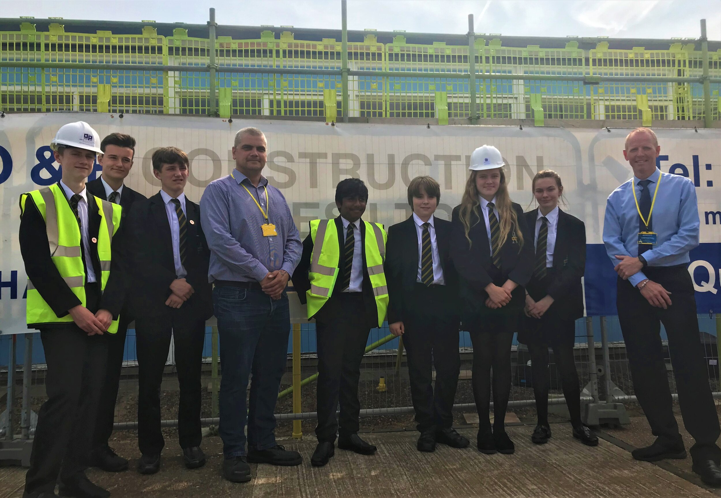 Pupils from Swinton Academy - along with representatives from Rotherham-based OP Construction. Penguin PR: public relations, media and communications