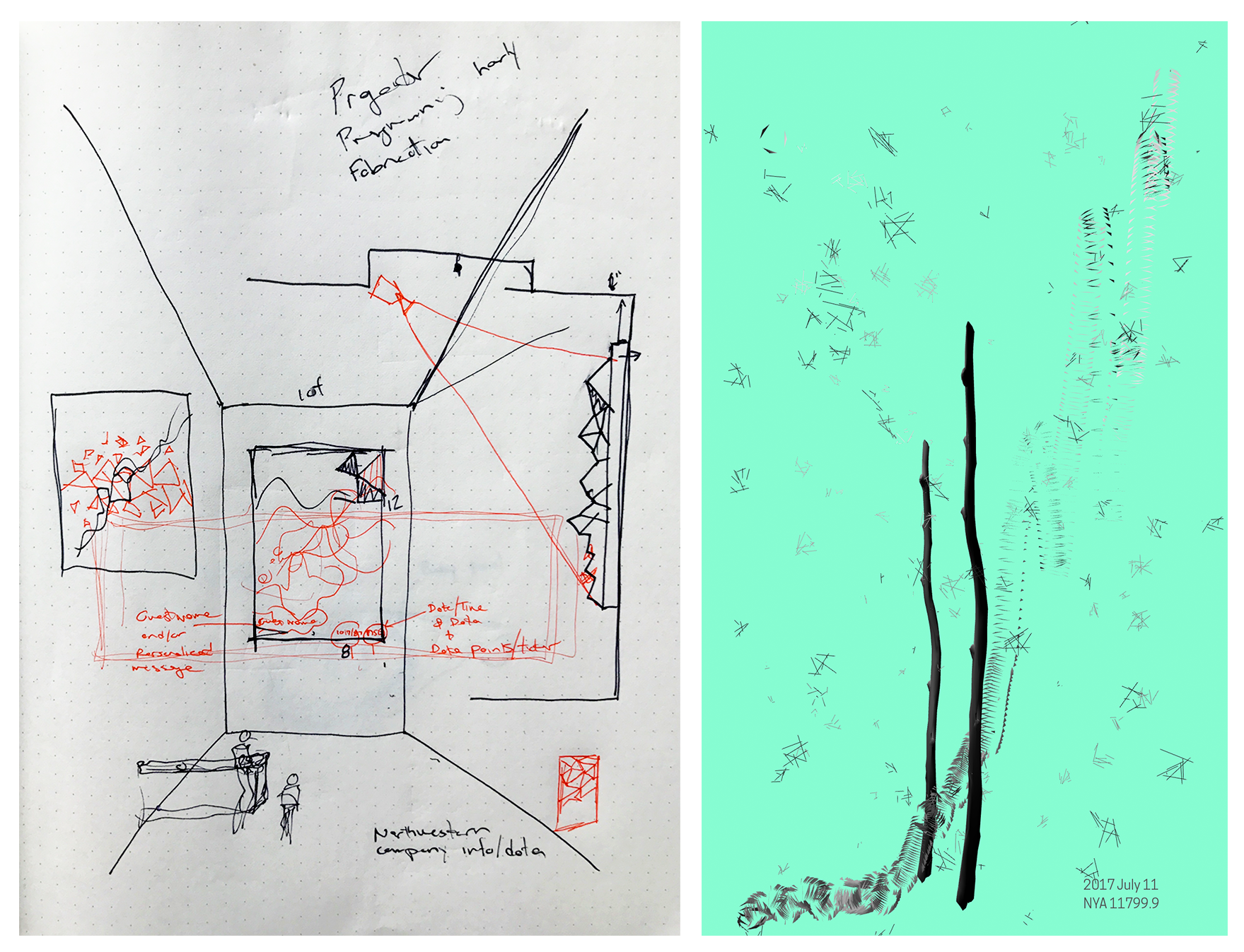Early paper and software sketches.