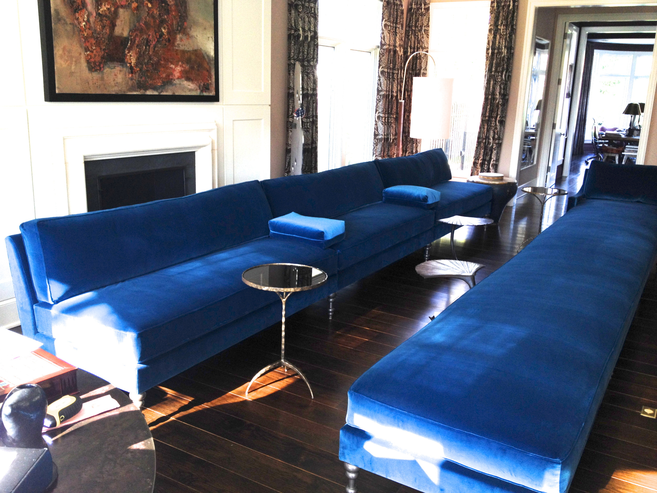 TRU custom 18' long armless sofa and chaise, turned legs, all down seat and back cushions.