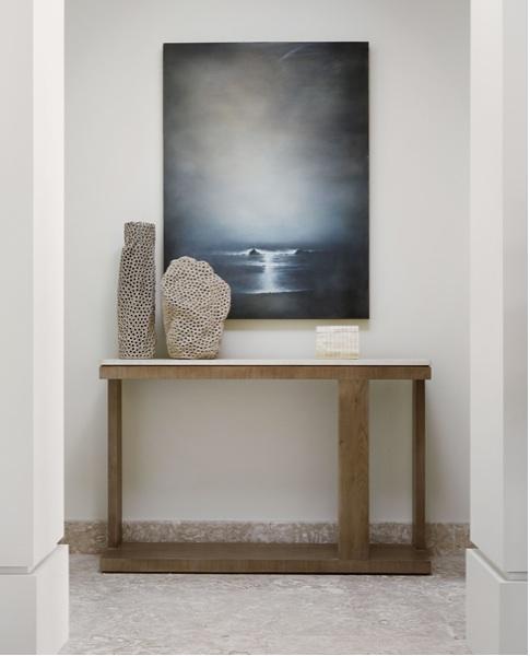 TRU custom bleached walnut entry console with limestone top.