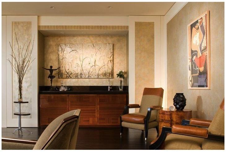 TRU custom design and fabrication of wet bar cabinet. Black granite top, sapele mahogany reverse checkerboard pattern doors.