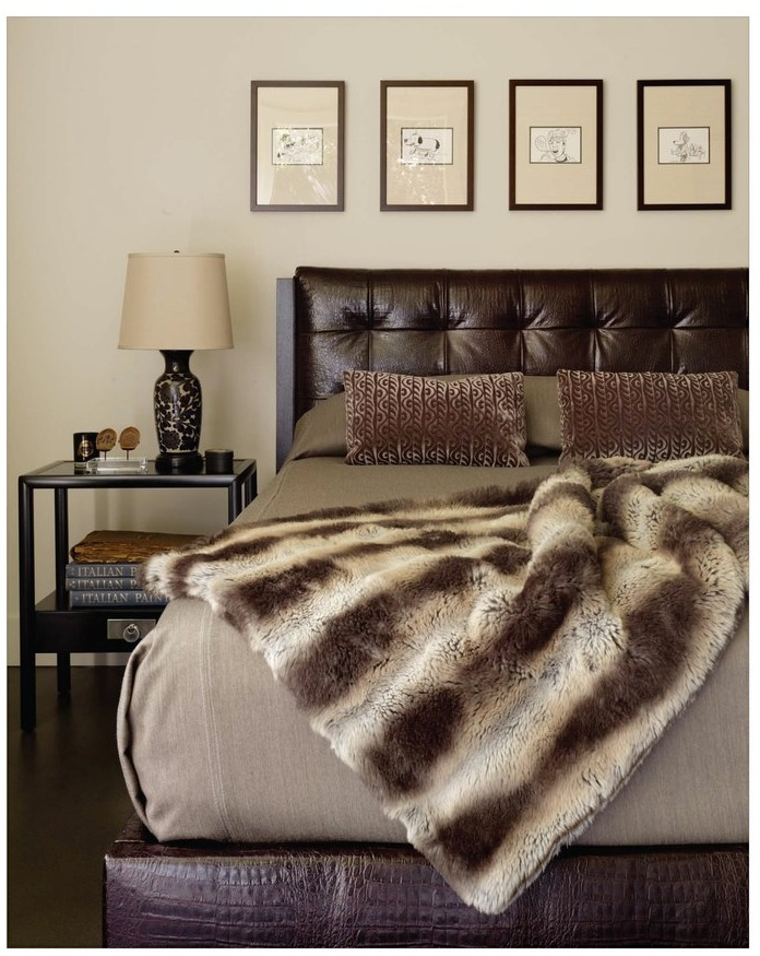 TRU furniture LUXE bed fabricated in faux crocodile,walnut frame