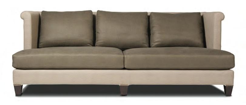 "TRU Furniture MANDARA SOFA. 34"" high back, two loose foam and down jacket filled seat cushions, three down filled loose back cushions 90 x 34 x 39 deep"