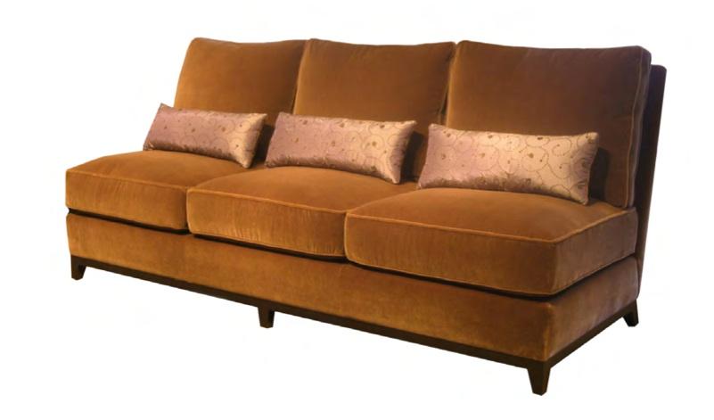 Duncan armless sofa three loose seat cushions three loose back cushions walnut 90 x 3& x 37