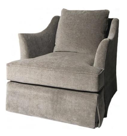 "TRU Furniture SERENITY LOUNGE CHAIR, full drop skirt, single T-seat cushions, knife-edge back cushion, full drop skirt. Size: 32"" W x 37"" D x 34H"