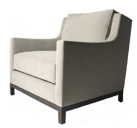 "TRU furniture LONDON LOUNGE CHAIR single loose seat single loose back cushion walnut base size:   34W x 34"" d x 34"" H"