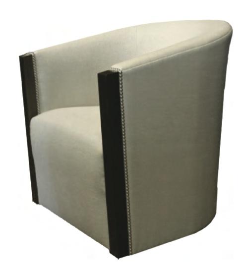 "TRU furniture BARDO SWIVEL BARREL CHAIR, tight back, tight seat, walnut trim at face of arm, silver nailhead detail, swivel base, size: 29"" W x 31.5"" H x 32"" D"
