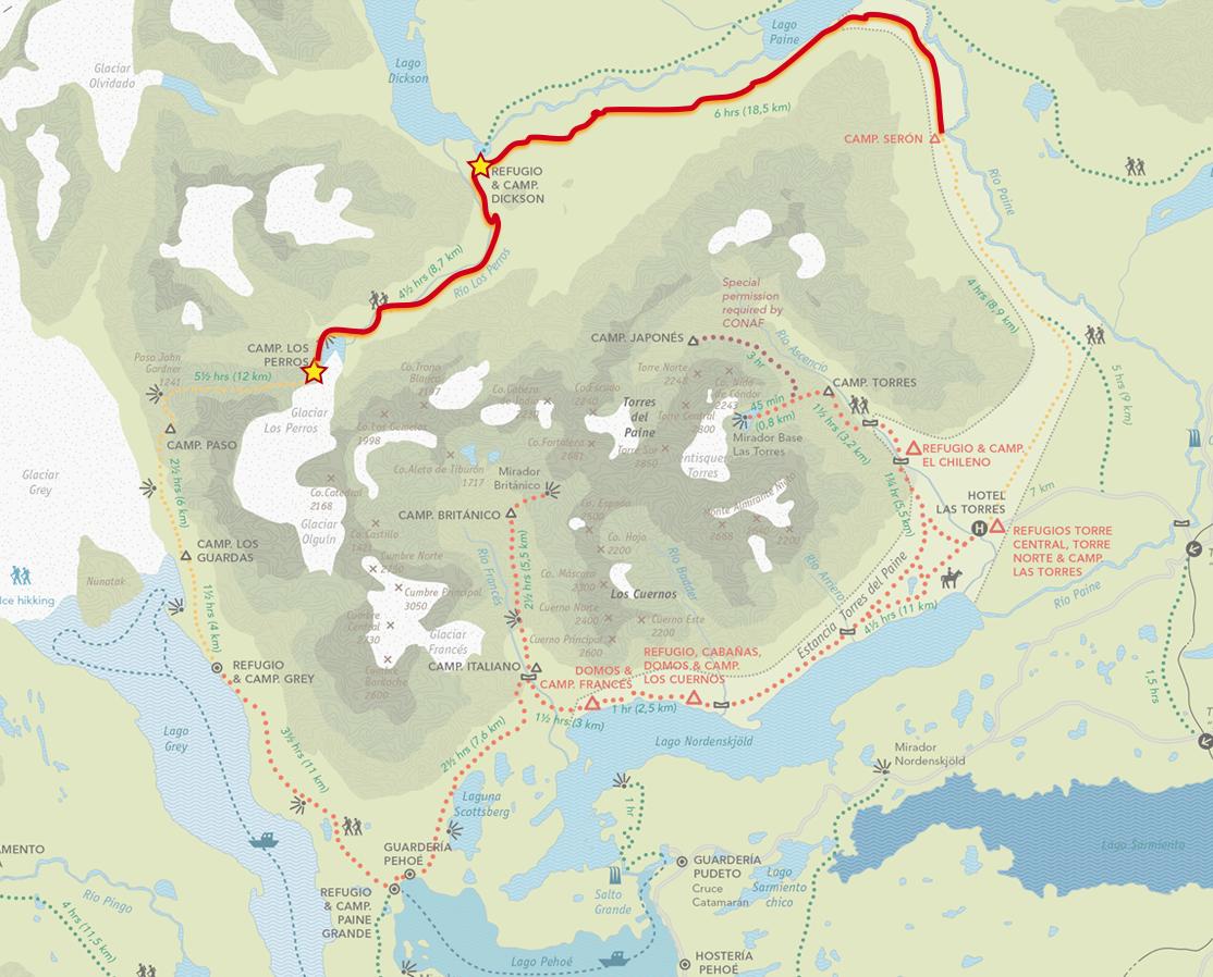 From Camp Serón to Refugio Dickson to Camp Los Perros (27km | 17 miles)